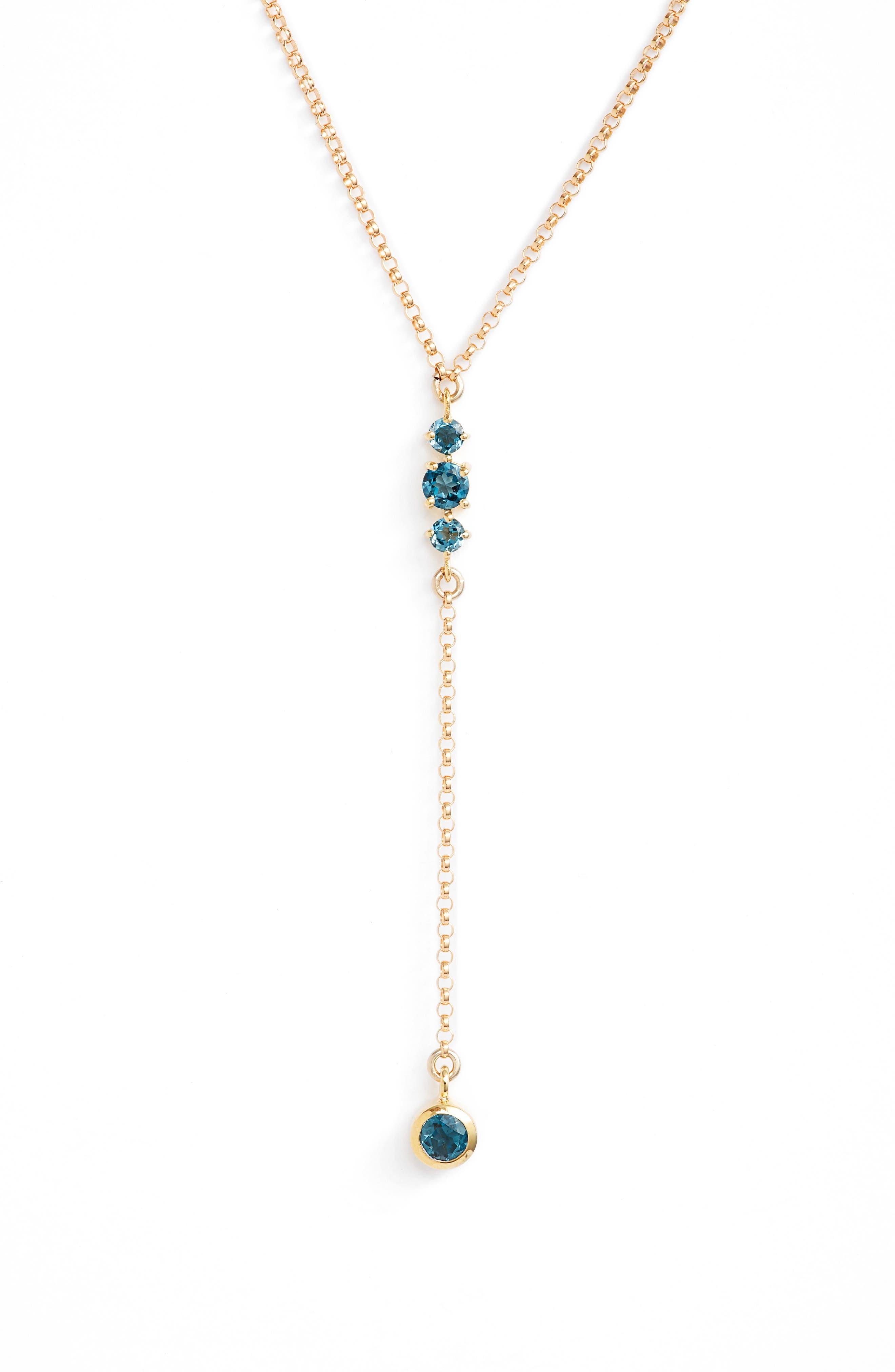 Main Image - Leah Alexandra Moonstone & Gold Y-Necklace