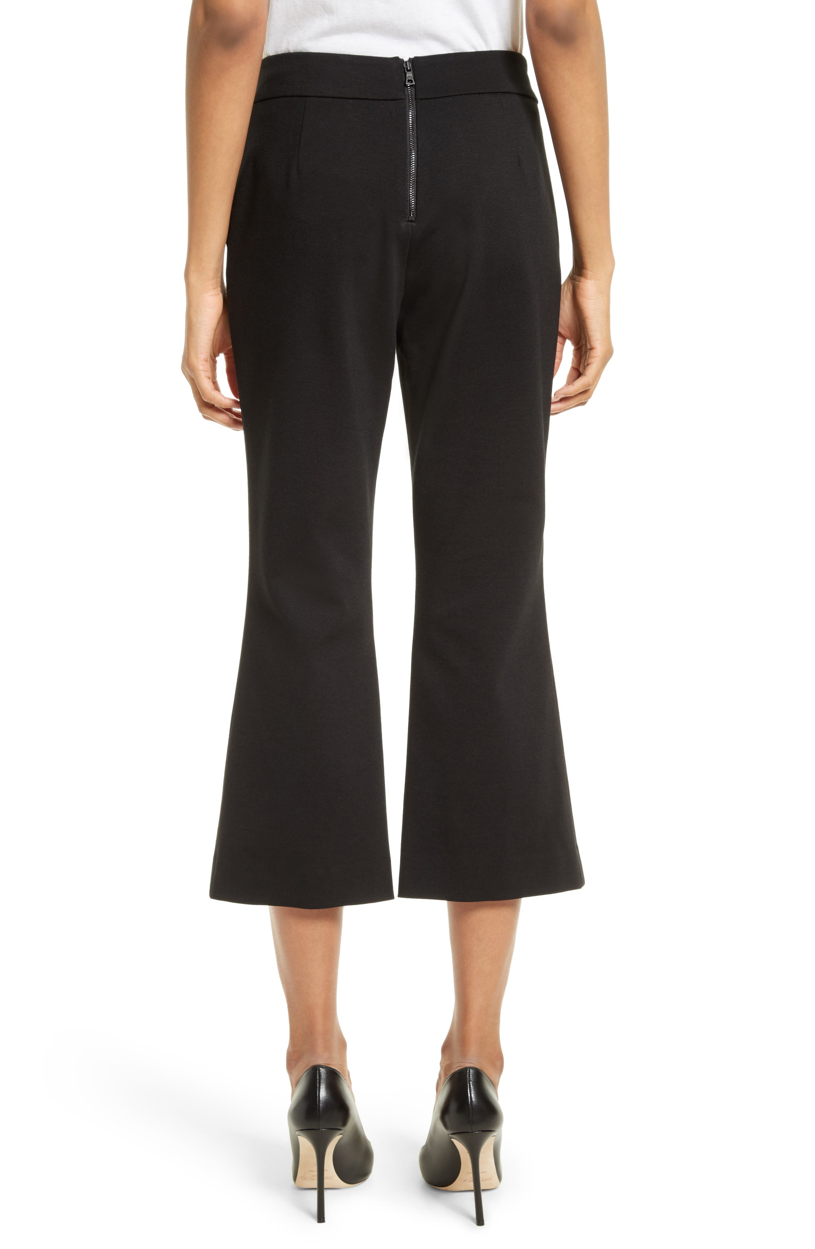 Michiko Crop Flare Pants,                             Alternate thumbnail 2, color,                             Black