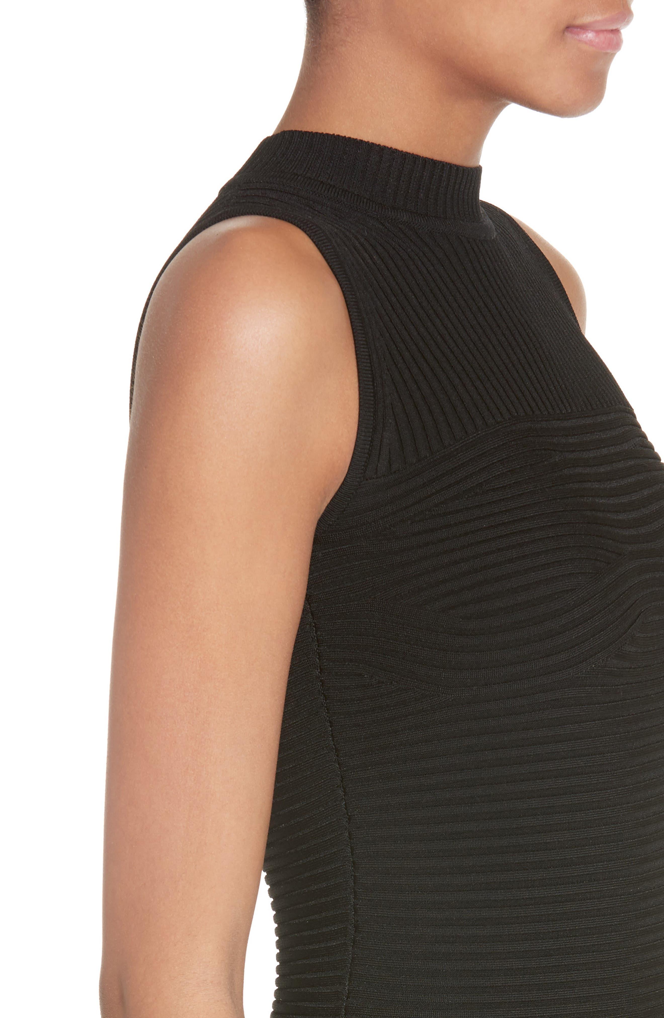 Rocky Rib Knit Bodysuit,                             Alternate thumbnail 5, color,                             Black