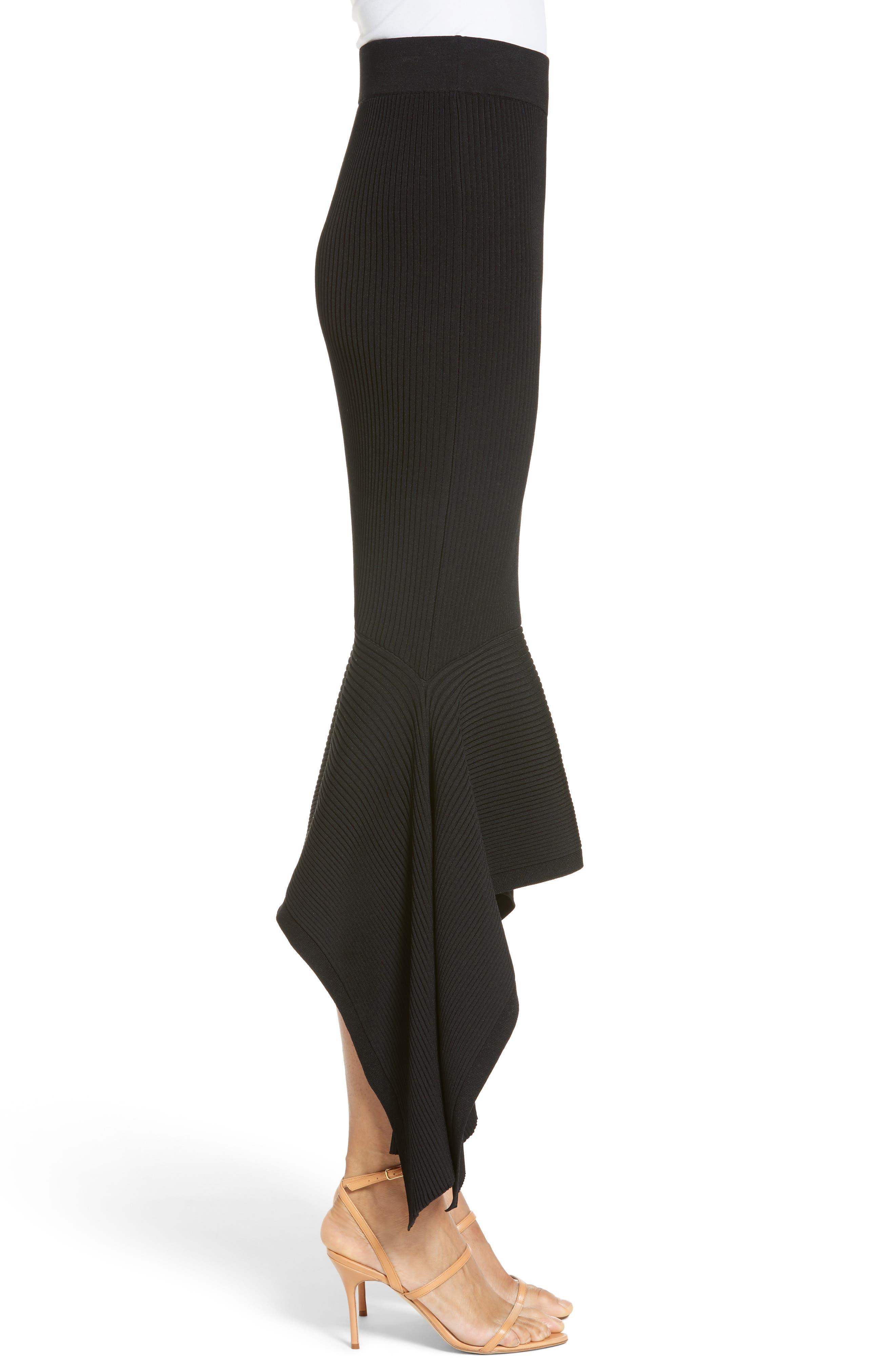 Rib Knit Ruffle Hem Midi Skirt,                             Alternate thumbnail 4, color,                             Black