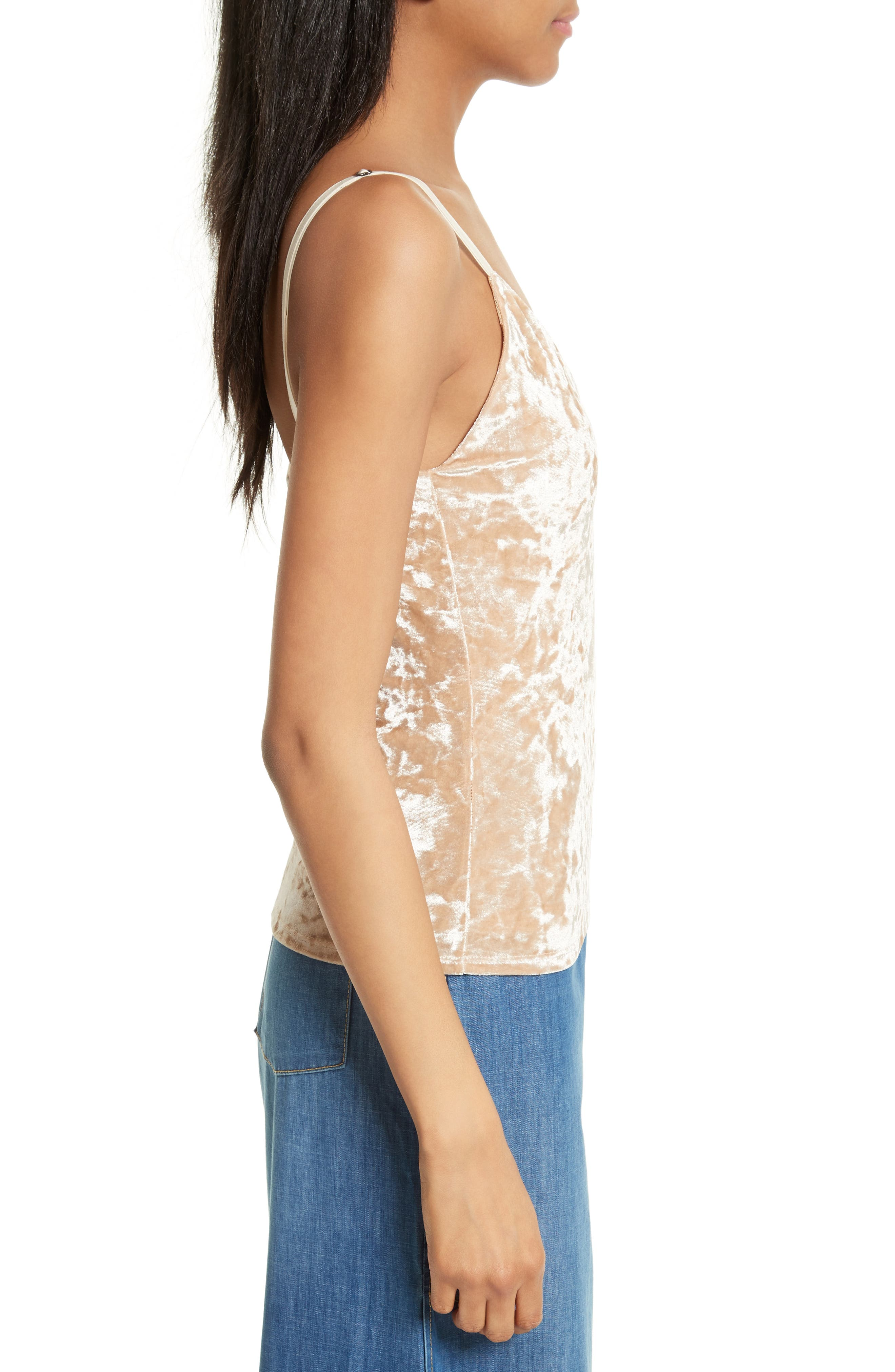 Delray Crushed Velvet Camisole,                             Alternate thumbnail 3, color,                             Natural