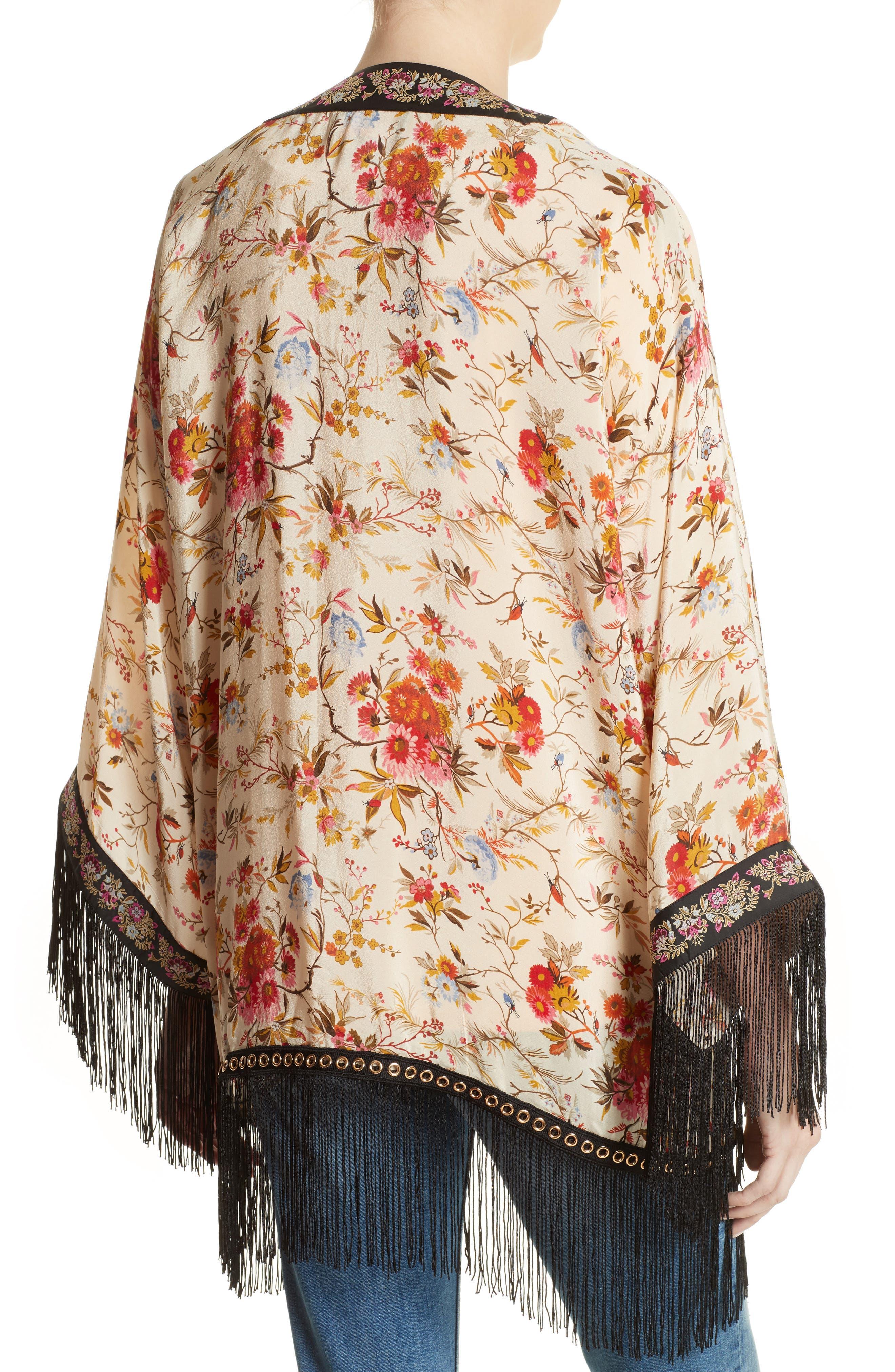 Alternate Image 2  - The Kooples Fleurs D'Artifice Floral Print Fringe Kimono