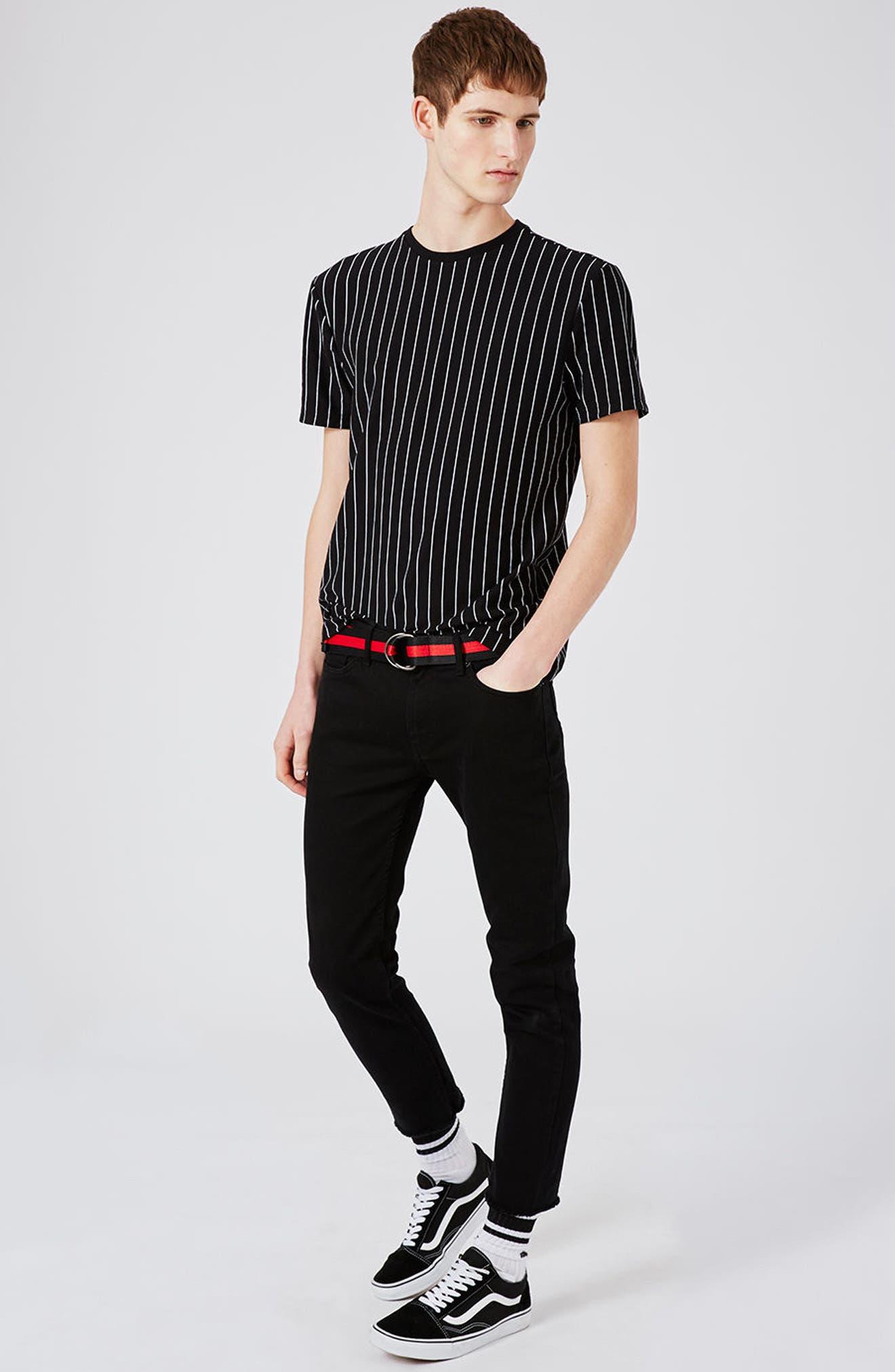 Vertical Stripe T-Shirt,                             Alternate thumbnail 2, color,                             Black Multi