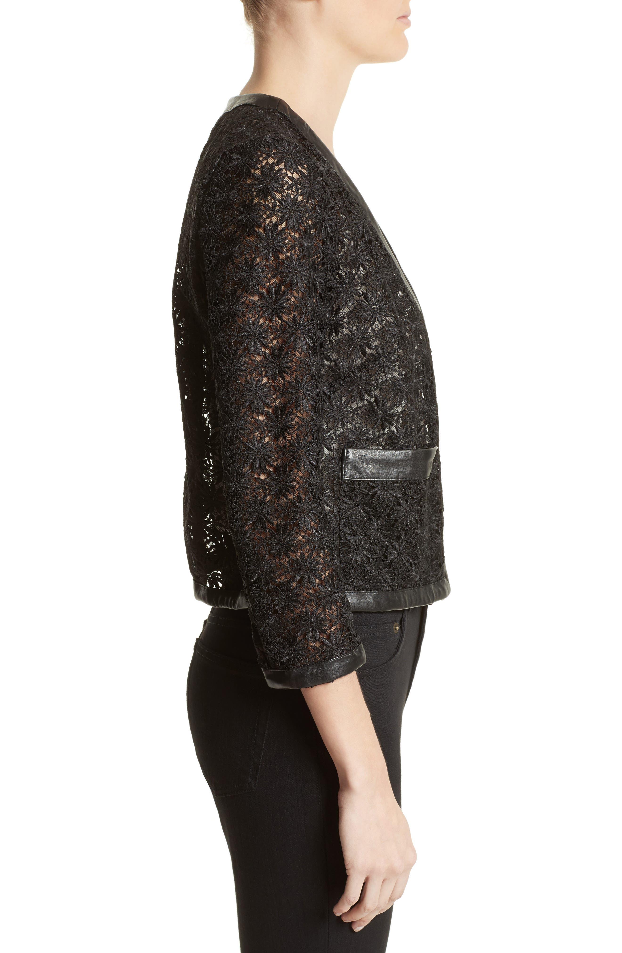 Alternate Image 3  - The Kooples Faux Leather Trim Lace Jacket