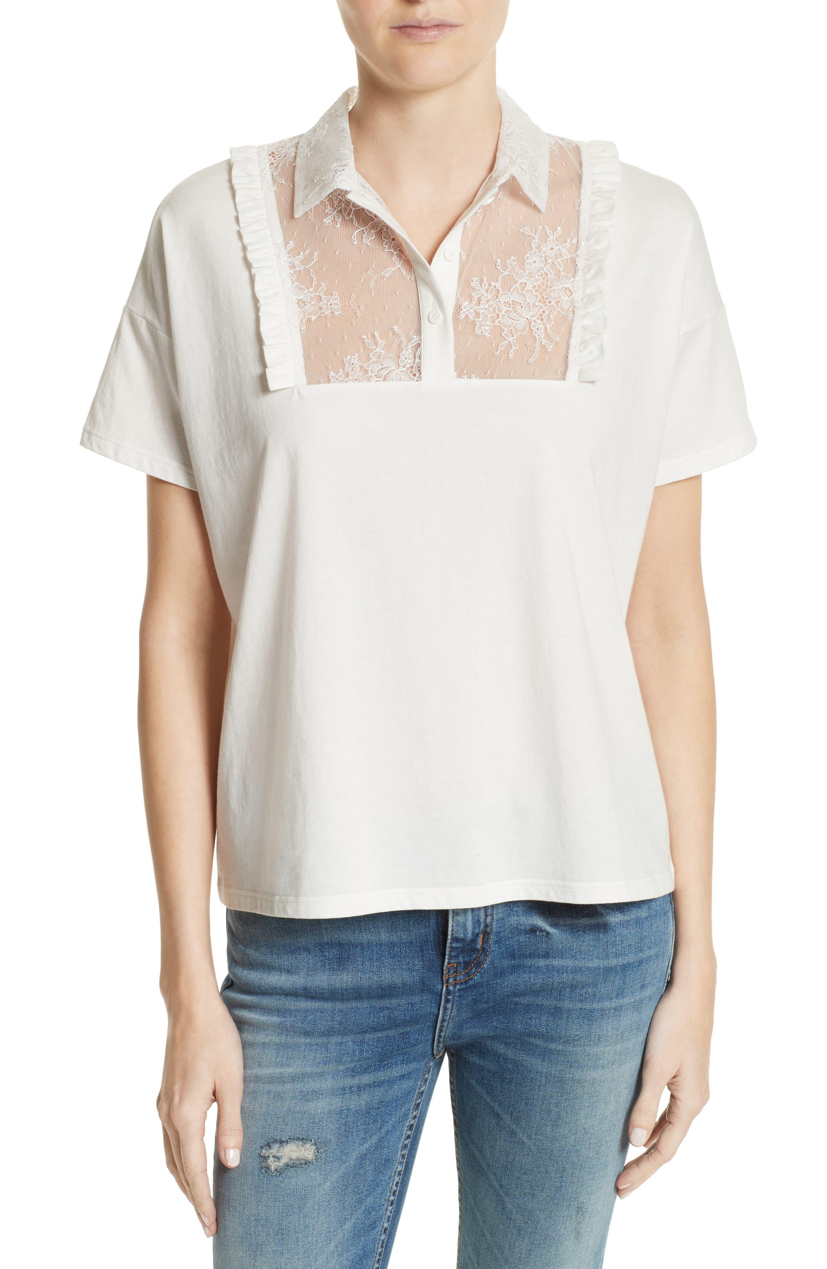 Lace & Ruffle Cotton Top,                         Main,                         color, Ecru