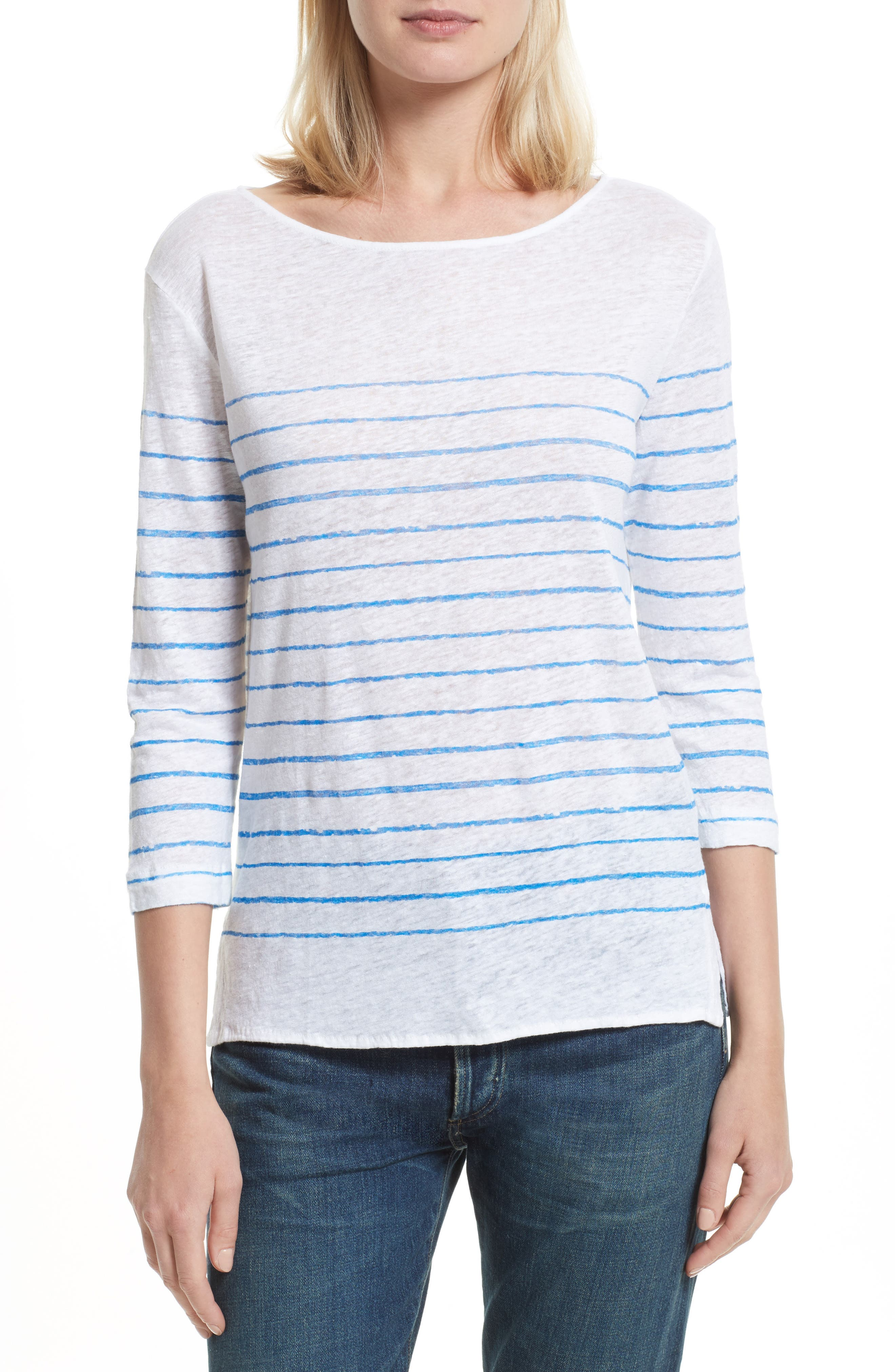 Alternate Image 1 Selected - Majestic Filatures Vintage Stripe Linen Tee