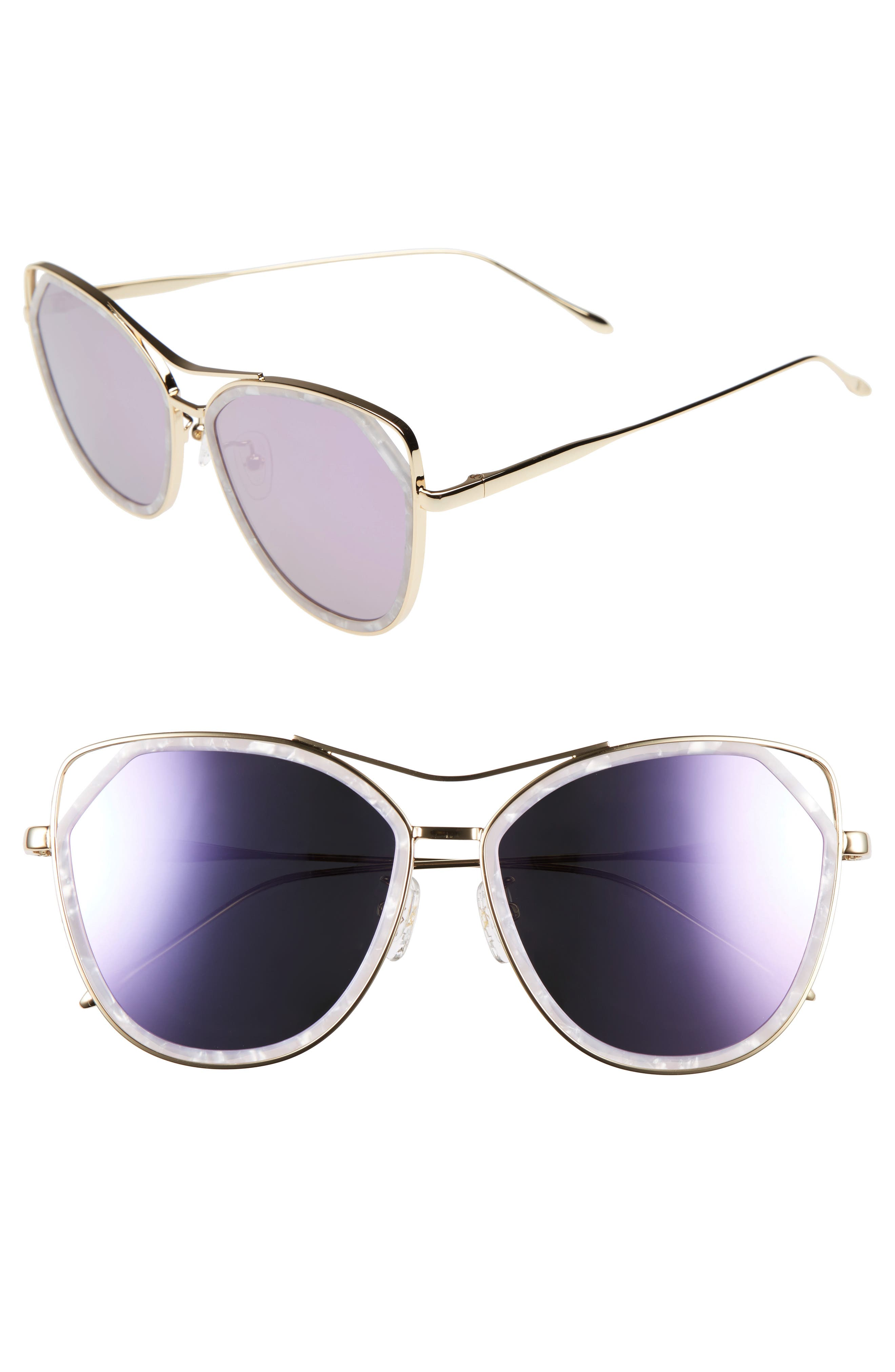Grand 56mm Polarized Cat Eye Sunglasses,                         Main,                         color, Lavender