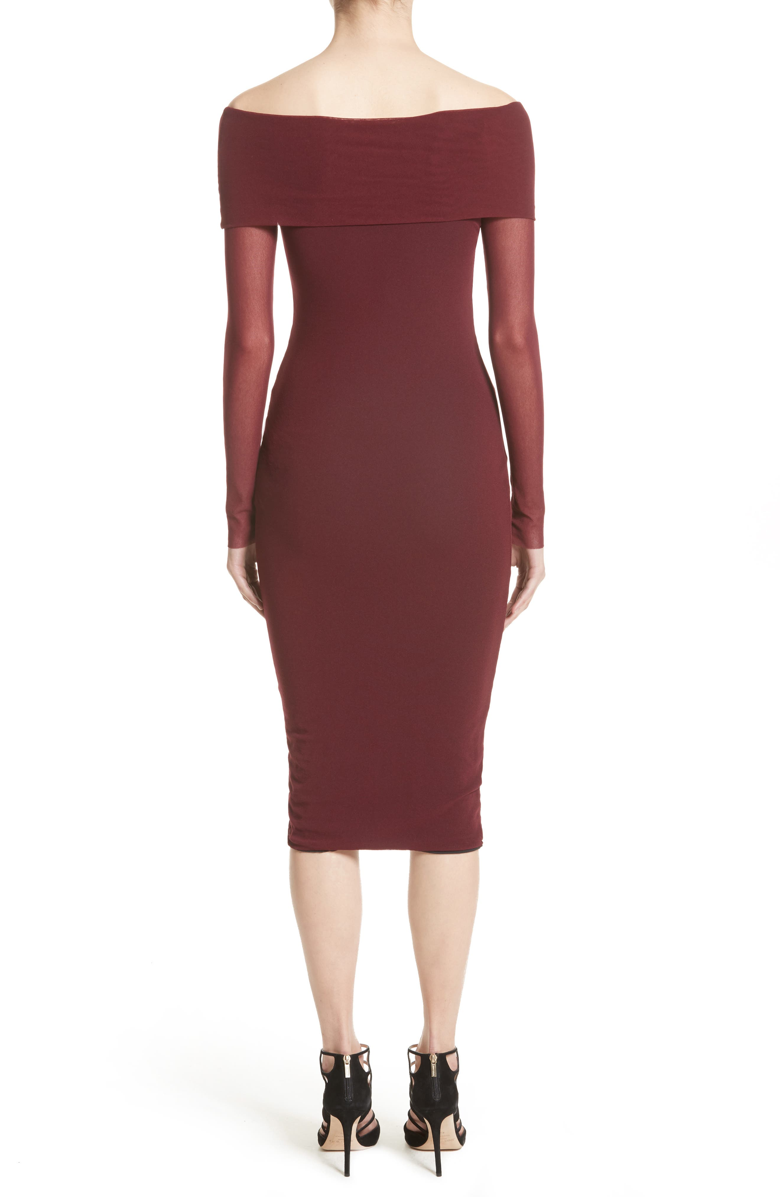 Tulle Off the Shoulder Midi Dress,                             Alternate thumbnail 2, color,                             Plum