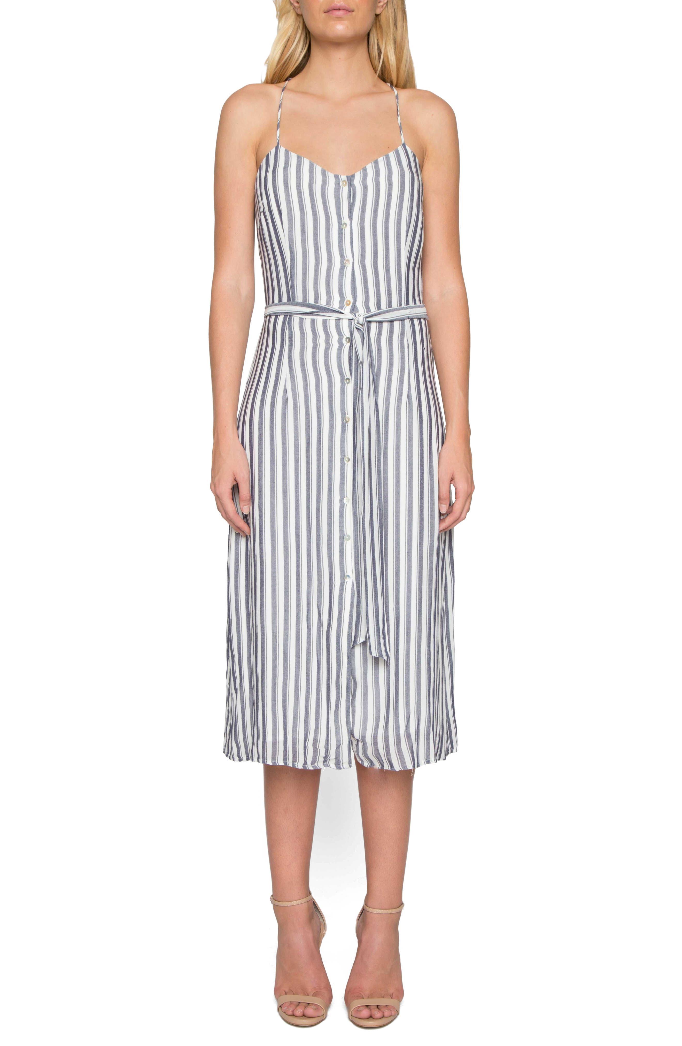 Stripe Midi Dress,                         Main,                         color, Denim