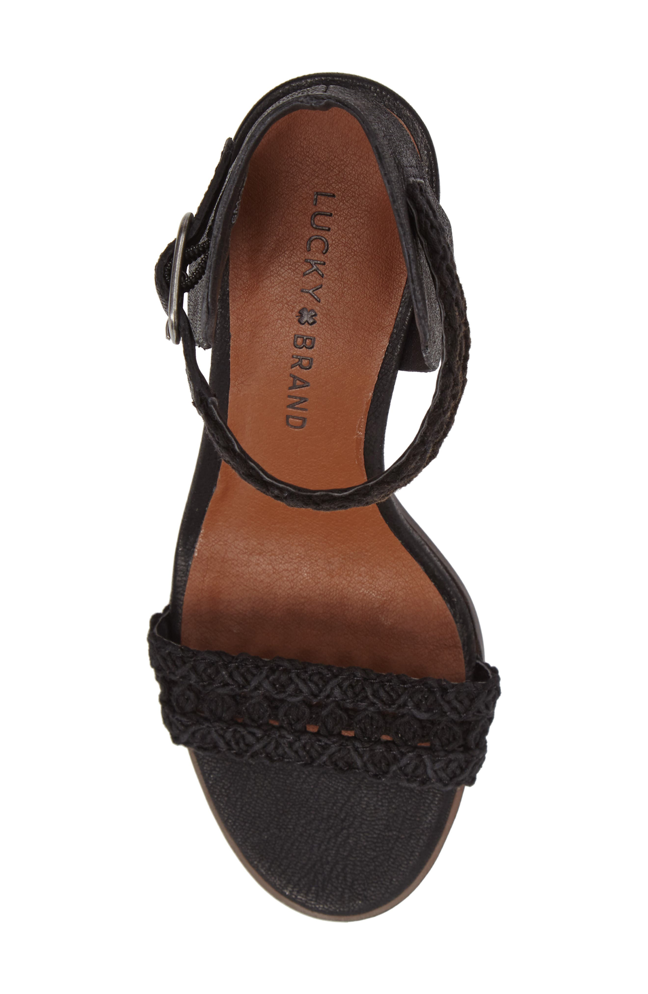 Oakes Ankle Strap Sandal,                             Alternate thumbnail 5, color,                             Black Leather