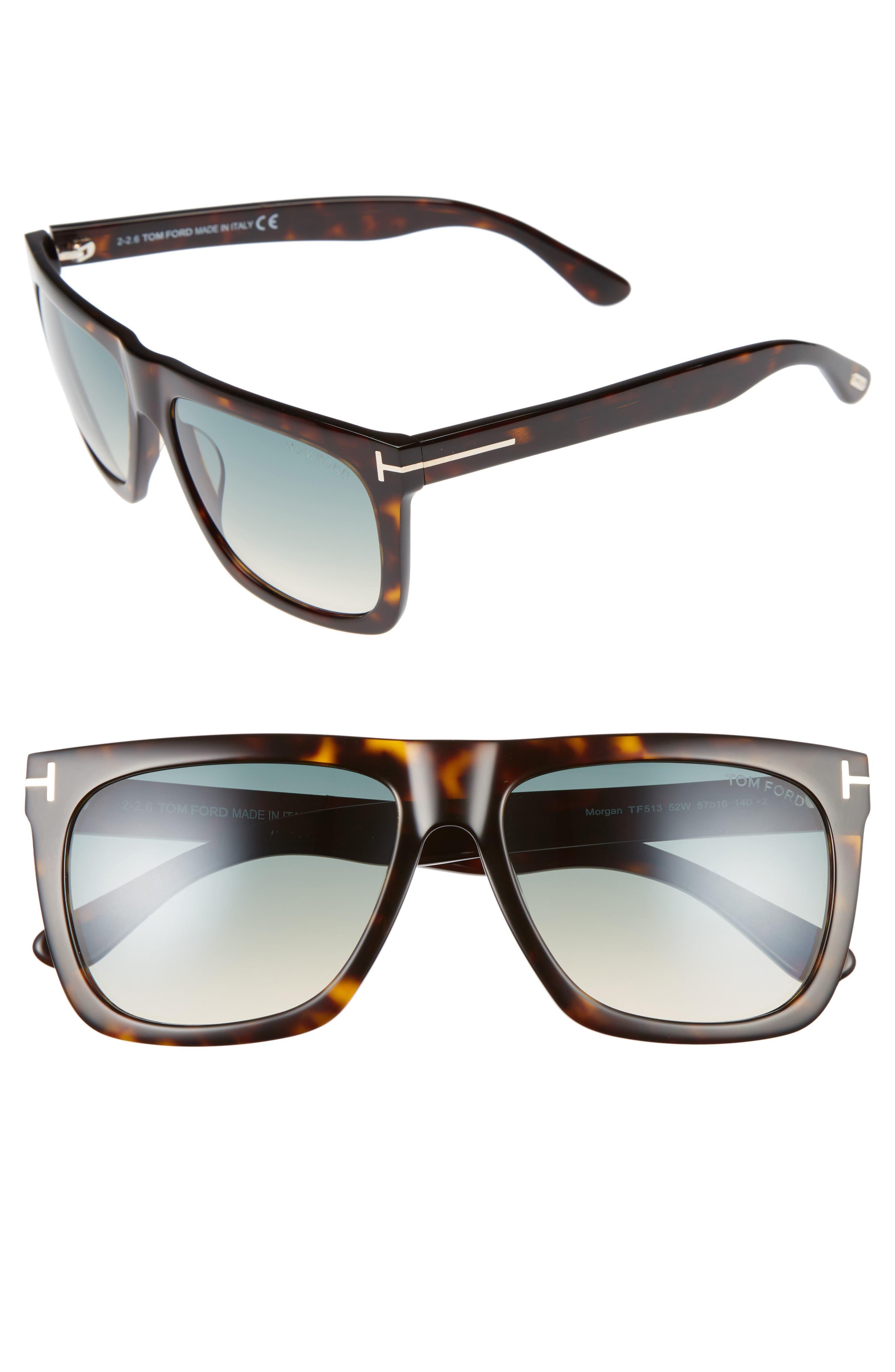 Morgan 57mm Flat Top Sunglasses,                         Main,                         color, Havana/ Turquoise Gradient