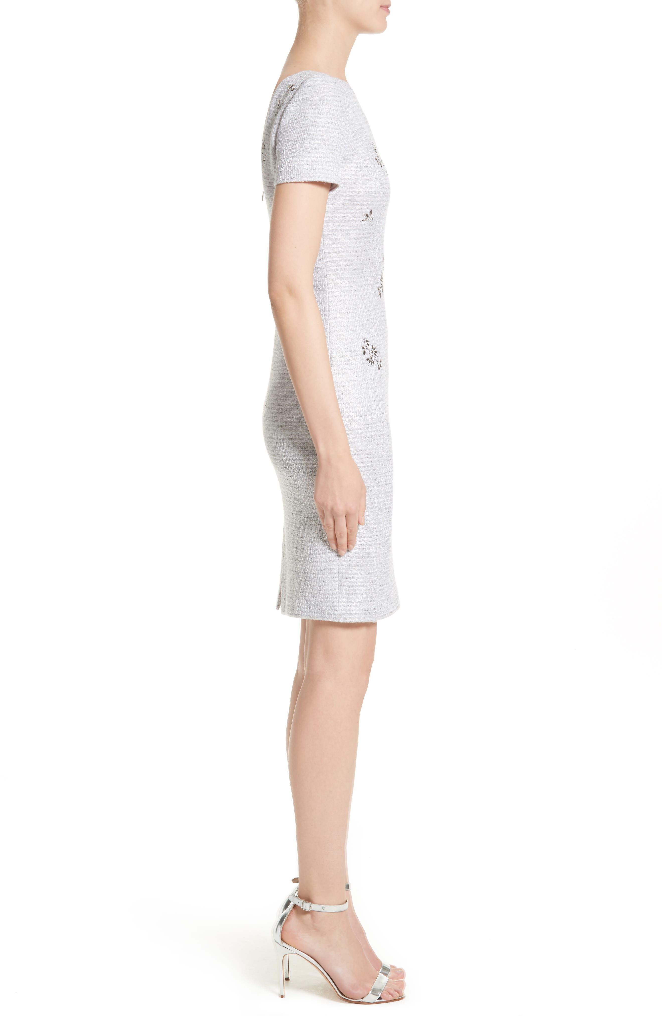Embellished Shimmer Knit Dress,                             Alternate thumbnail 3, color,                             Lavender