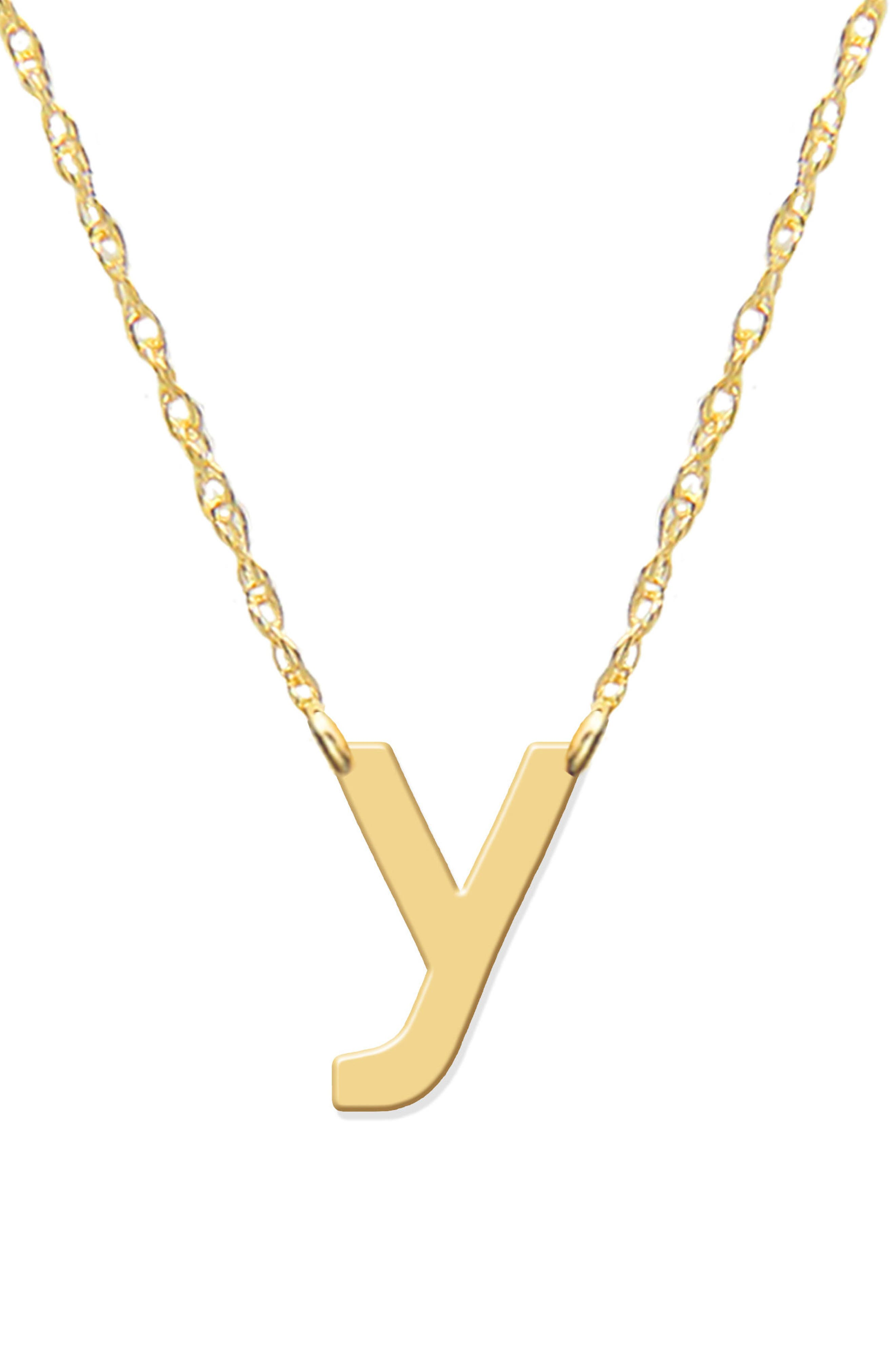 Lowercase Initial Pendant Necklace,                         Main,                         color, Gold- Y