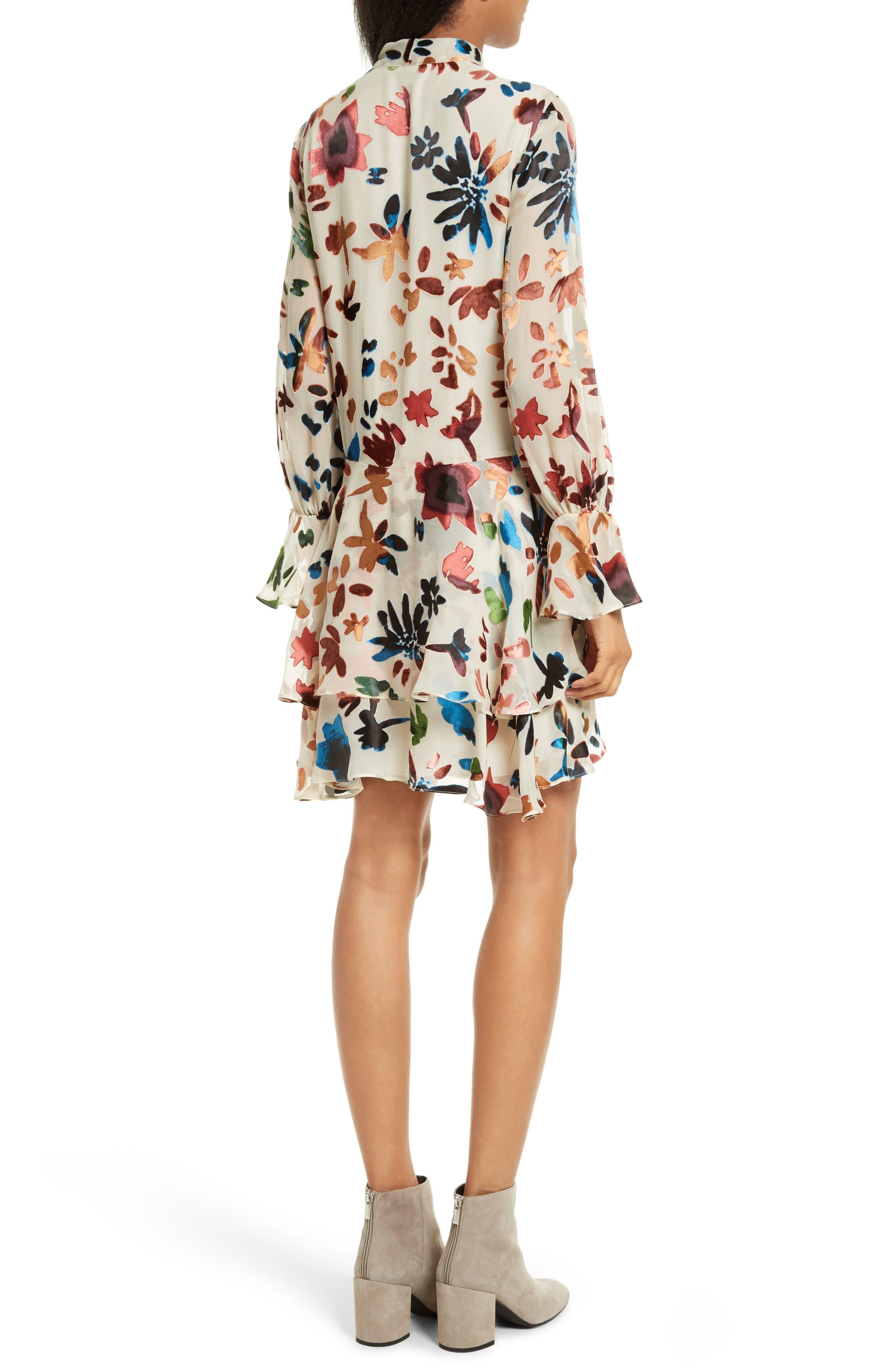 Moran Tiered Floral A-Line Dress,                             Alternate thumbnail 2, color,                             Prisma Floral Burnout