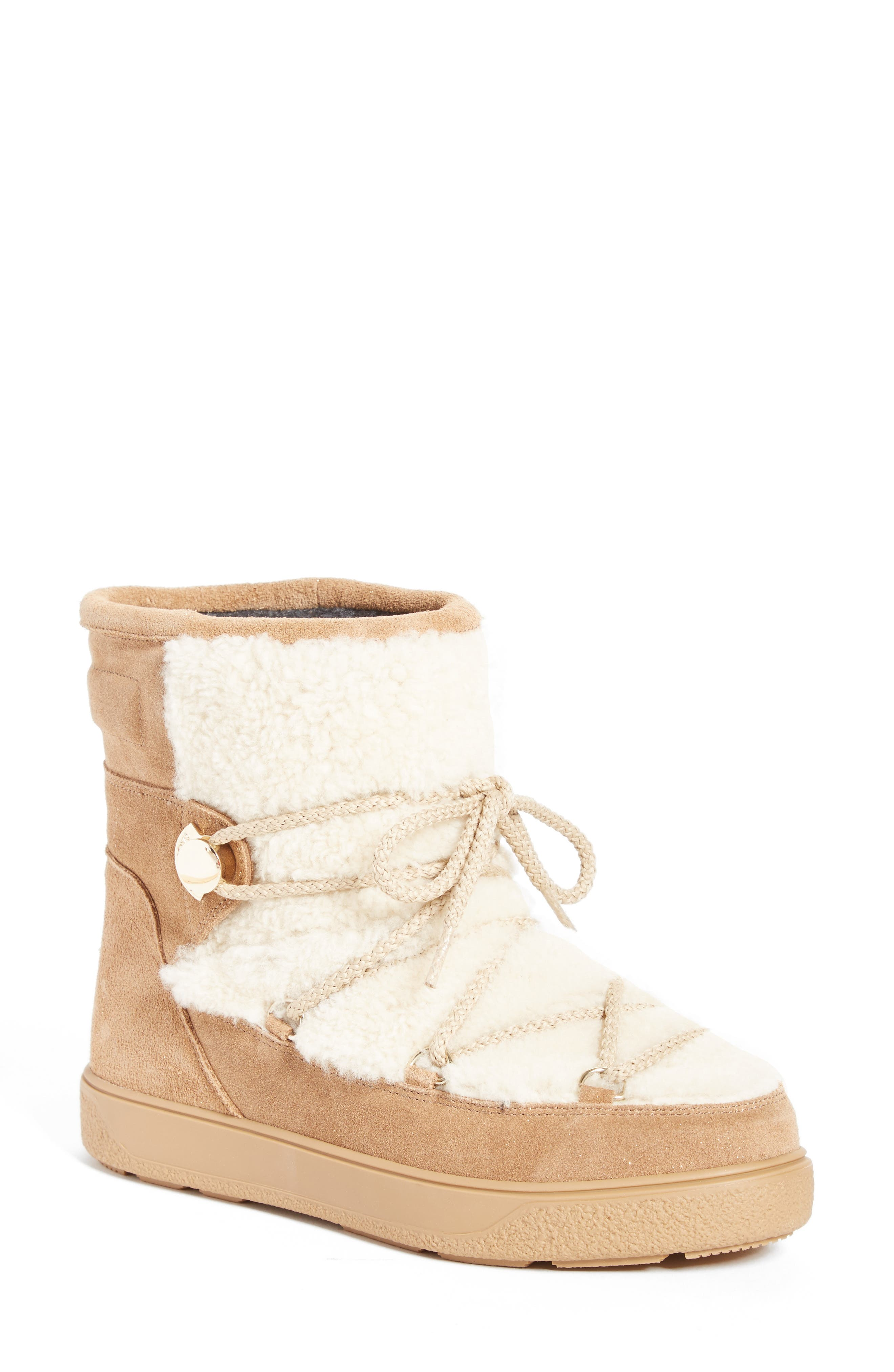Main Image - Moncler New Fanny Stivale Genuine Shearling Short Moon Boots (Women)