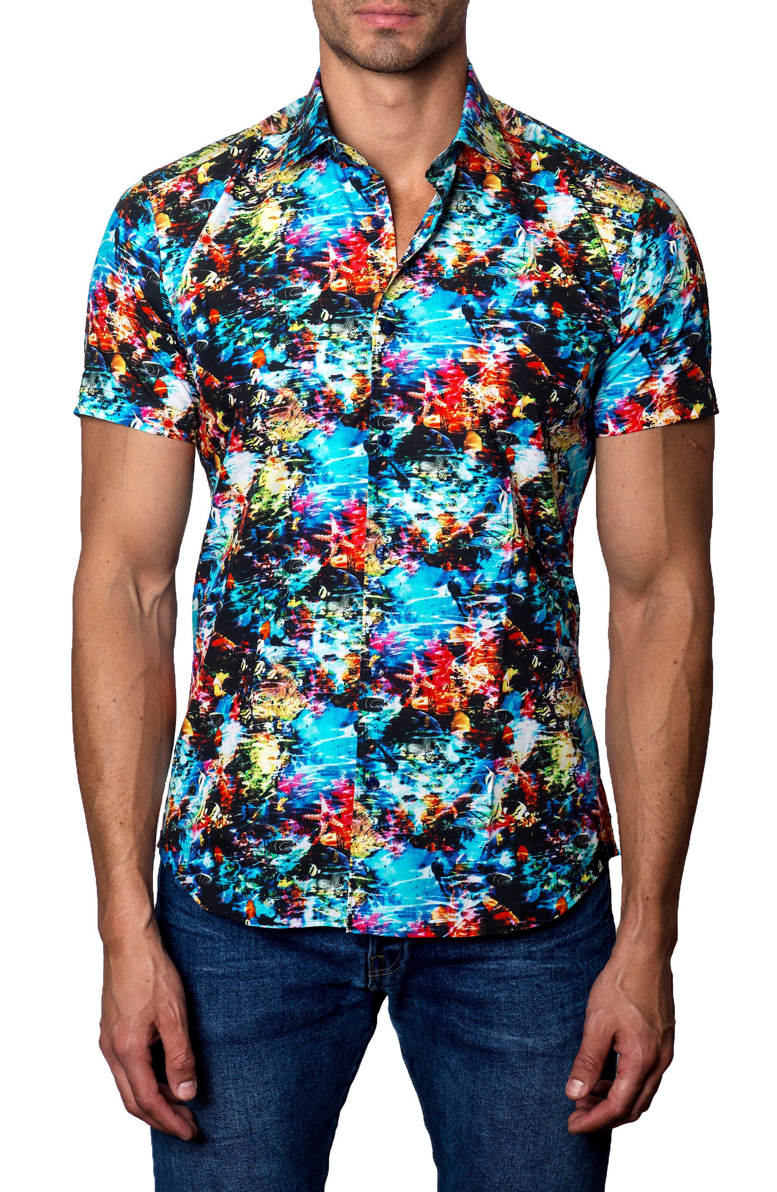 Main Image - Jared Lang Trim Fit Print Sport Shirt