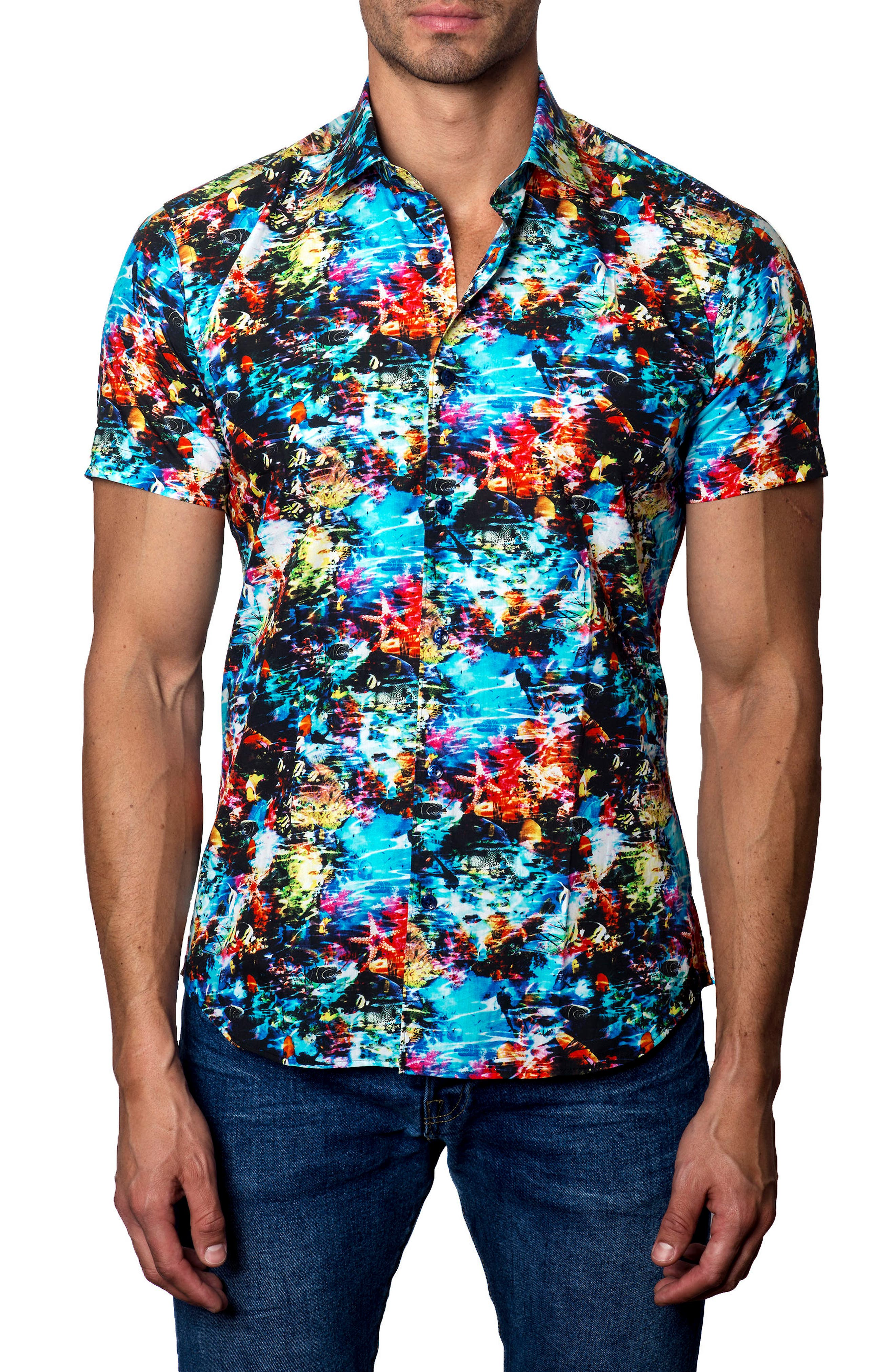 Trim Fit Print Sport Shirt,                         Main,                         color, Blue/ Green Multi