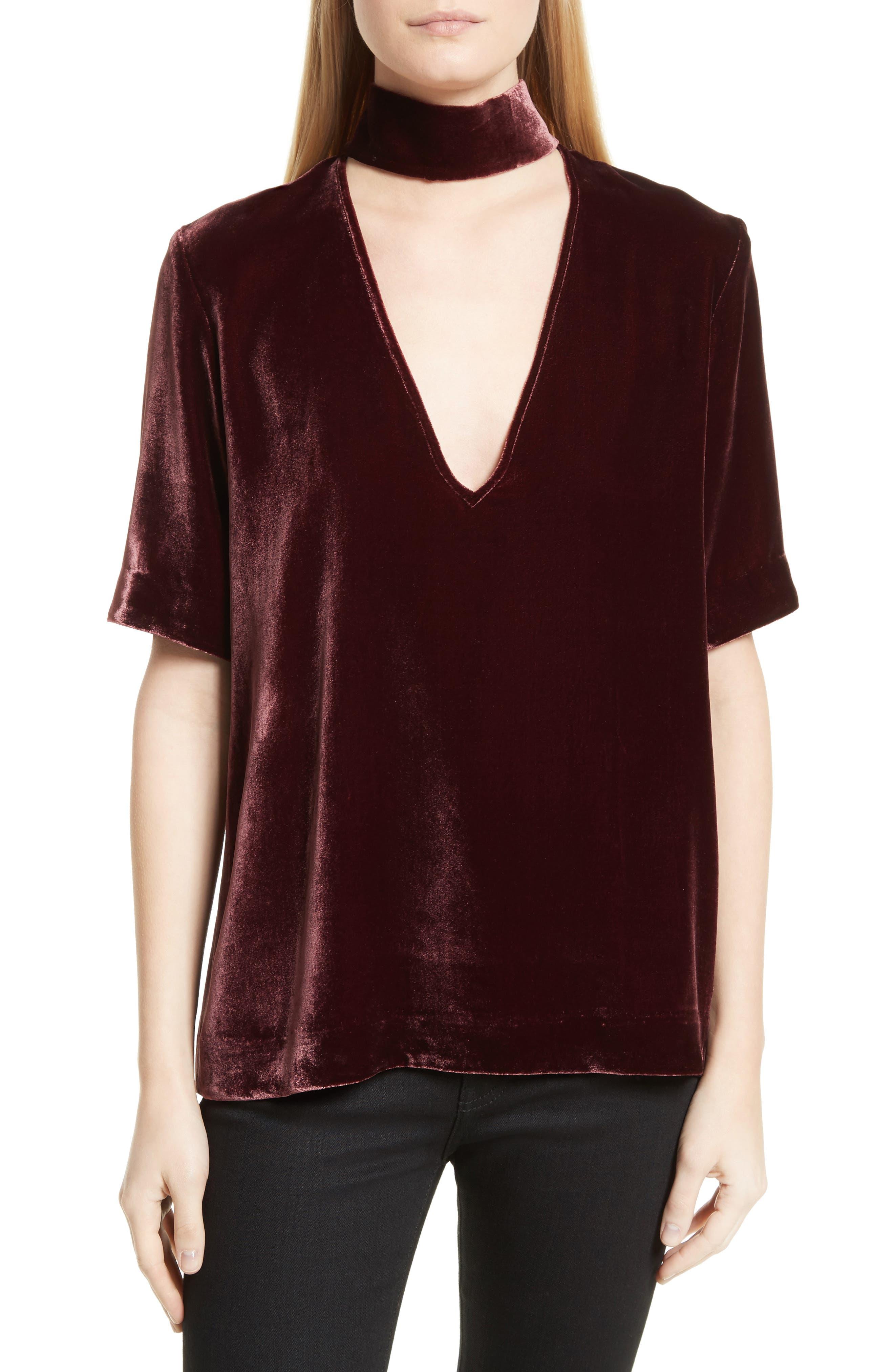 Choker Collar V-Neck Velvet Top,                         Main,                         color, Dark Currant