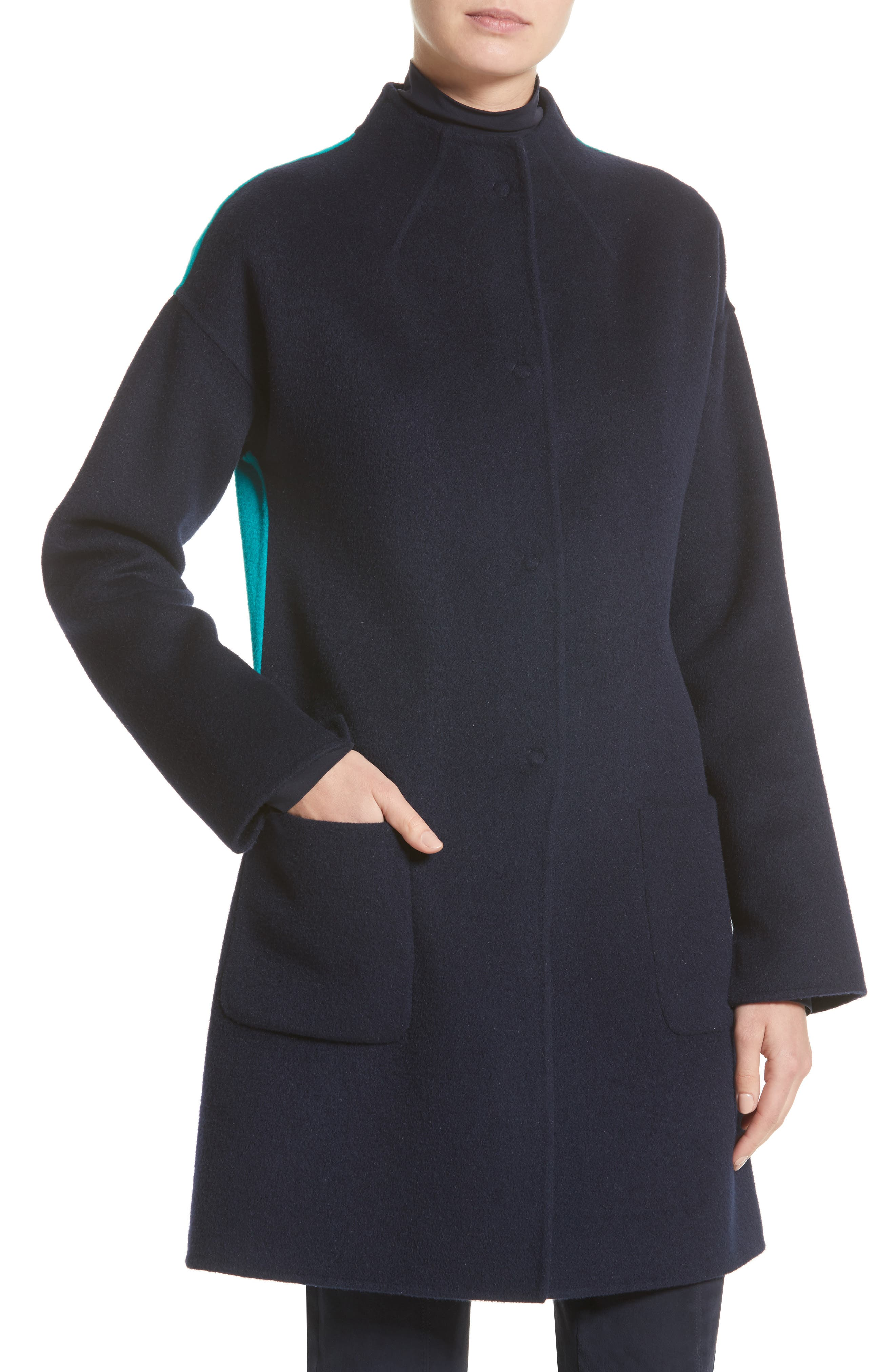 Alternate Image 6  - St. John Collection Colorblock Double Face Wool Blend Coat