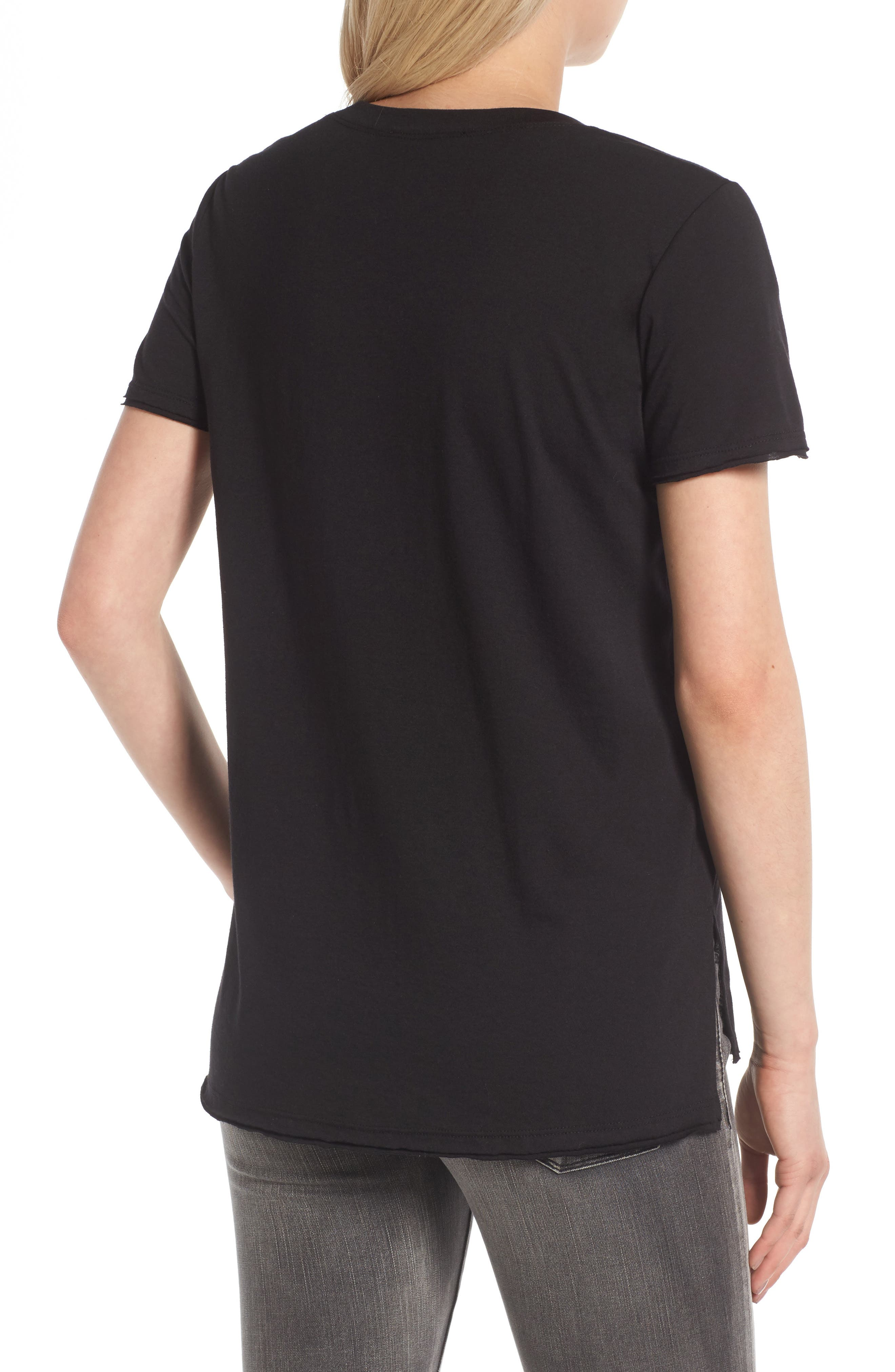 Raw Edge Side Slit Tee,                             Alternate thumbnail 2, color,                             Black