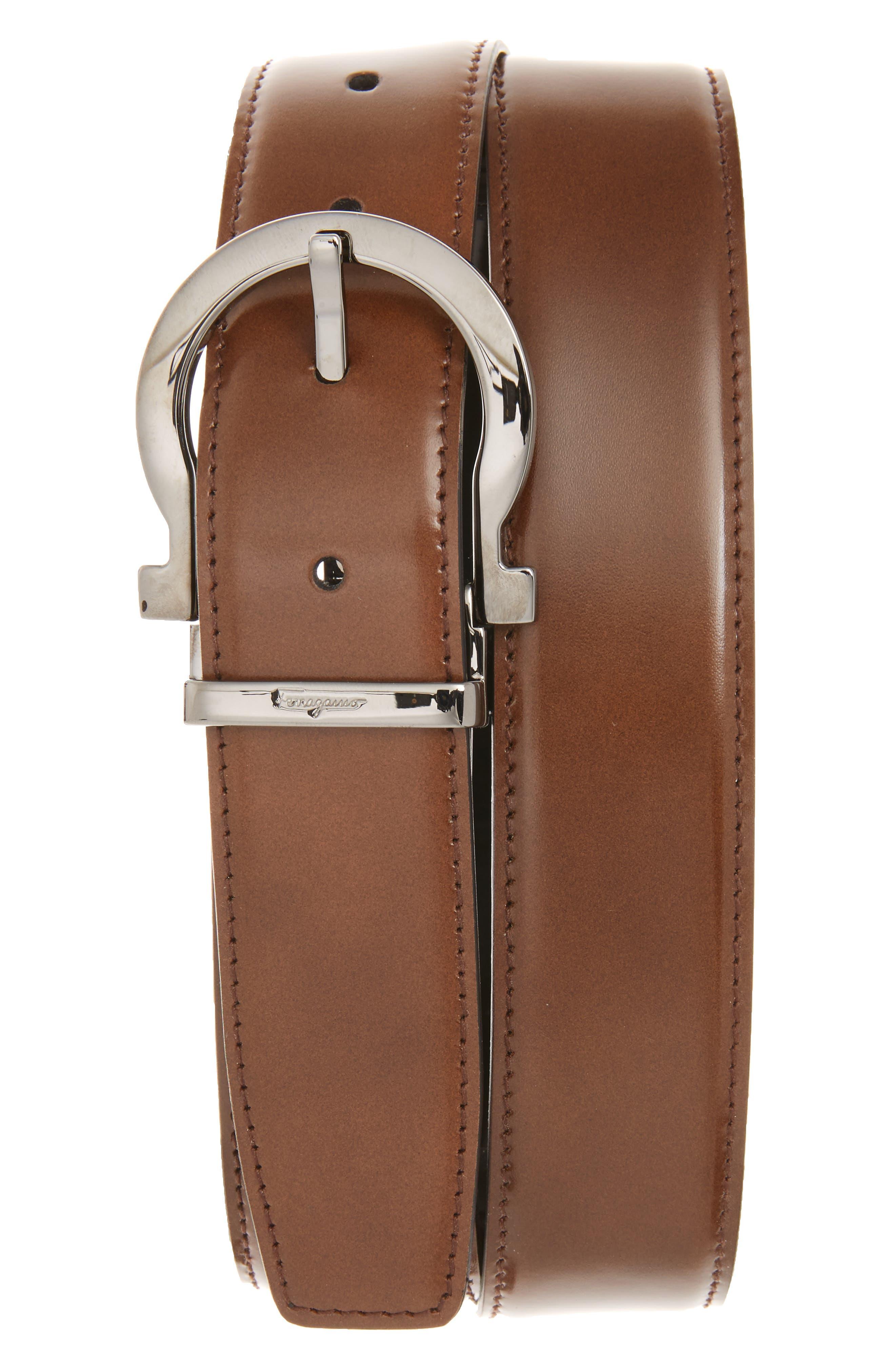 Reversible Leather Belt,                         Main,                         color, Madera/ Black