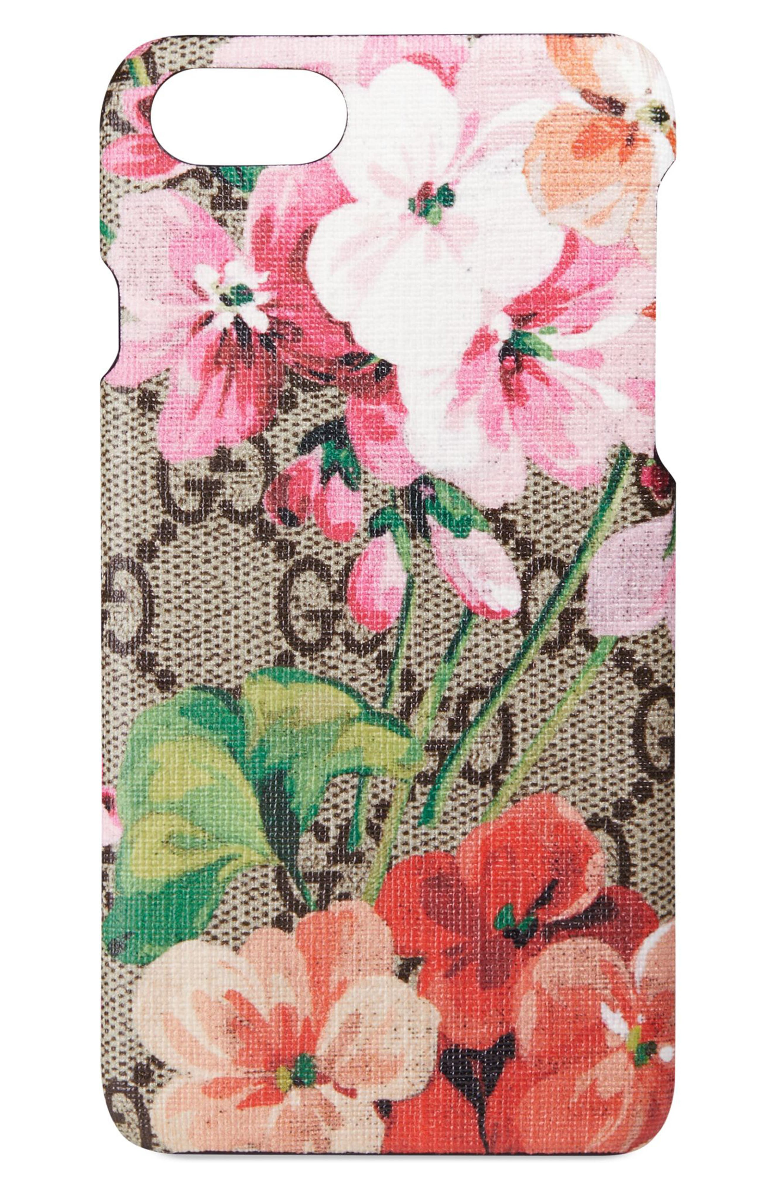 GG Blooms iPhone 7 Case,                             Main thumbnail 1, color,                             Beige Ebony Multi