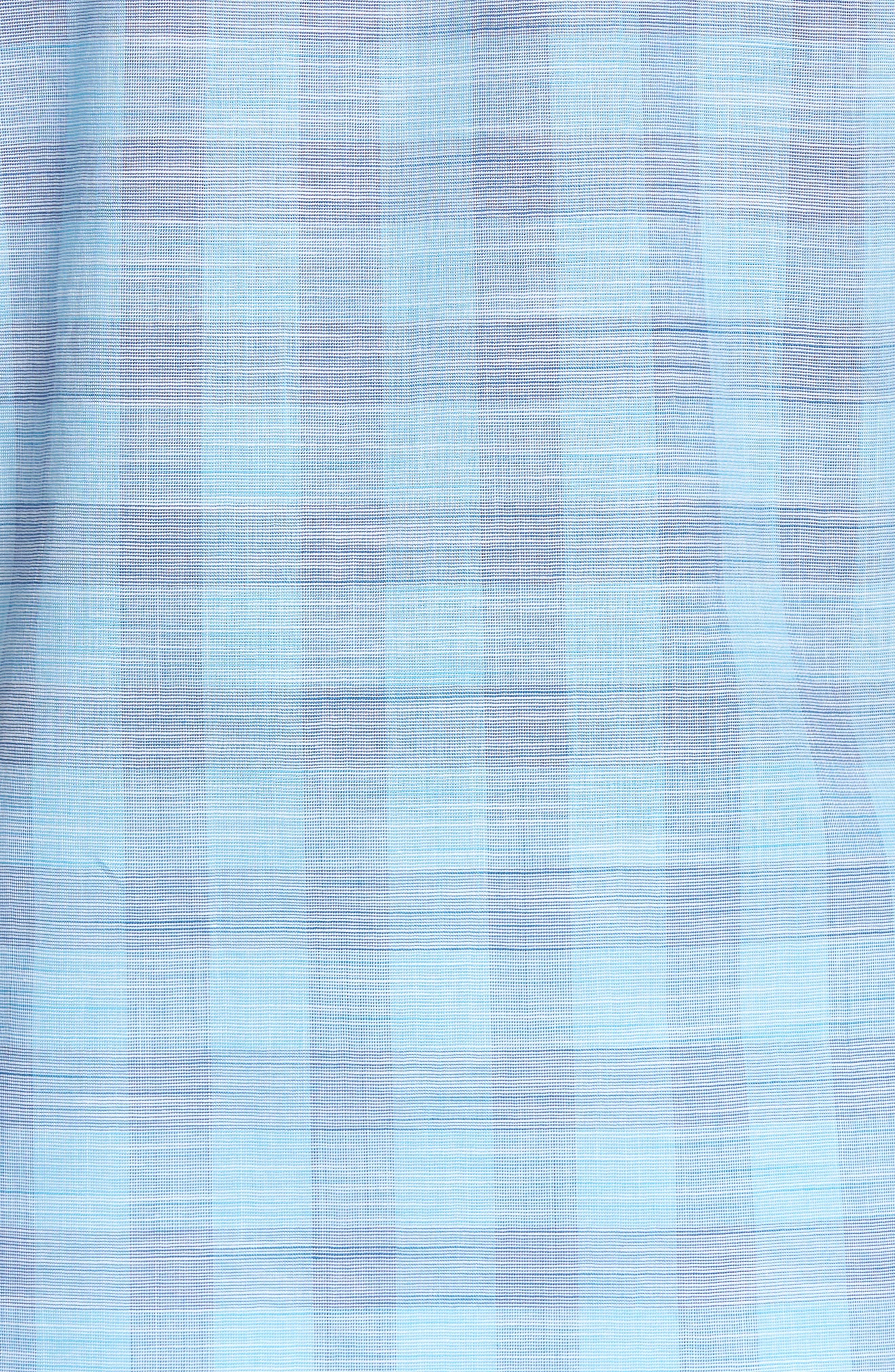 Hasanagic Trim Fit Plaid Sport Shirt,                             Alternate thumbnail 5, color,                             Turquoise