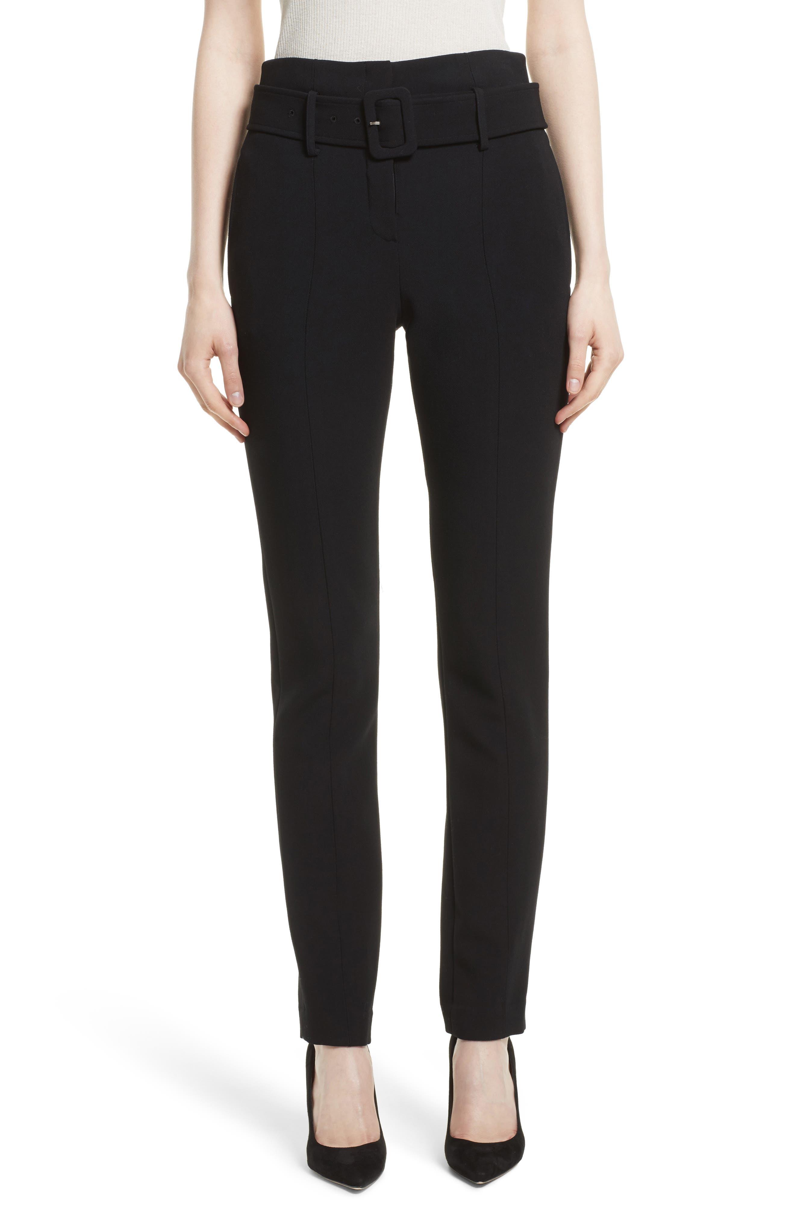 Camogie Belted Cigarette Pants,                         Main,                         color, Black