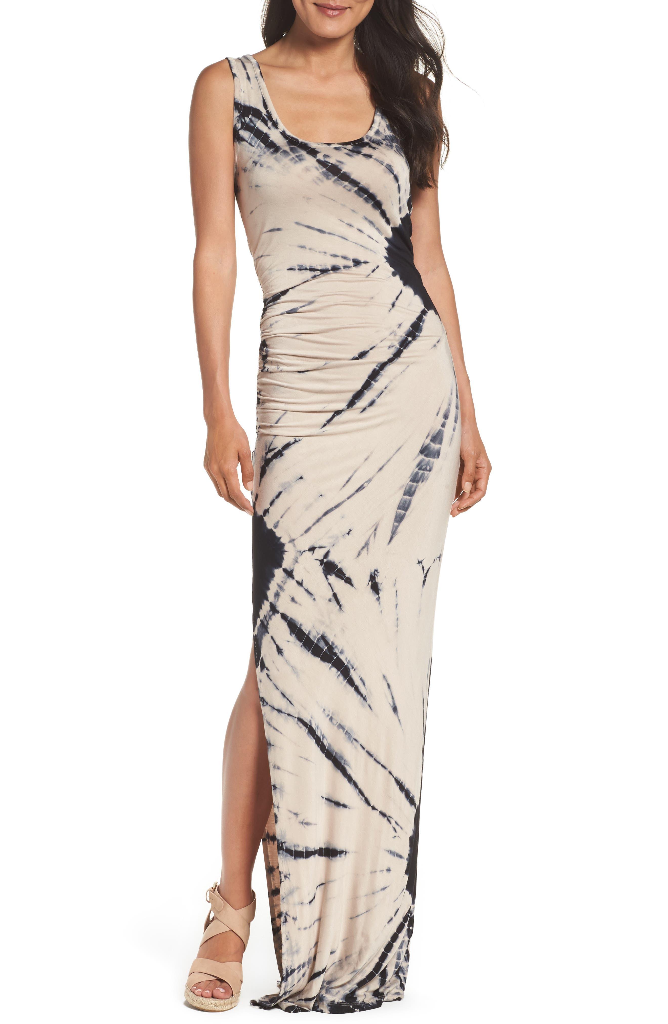 Tie Dye Tank Maxi Dress,                             Main thumbnail 1, color,                             Black