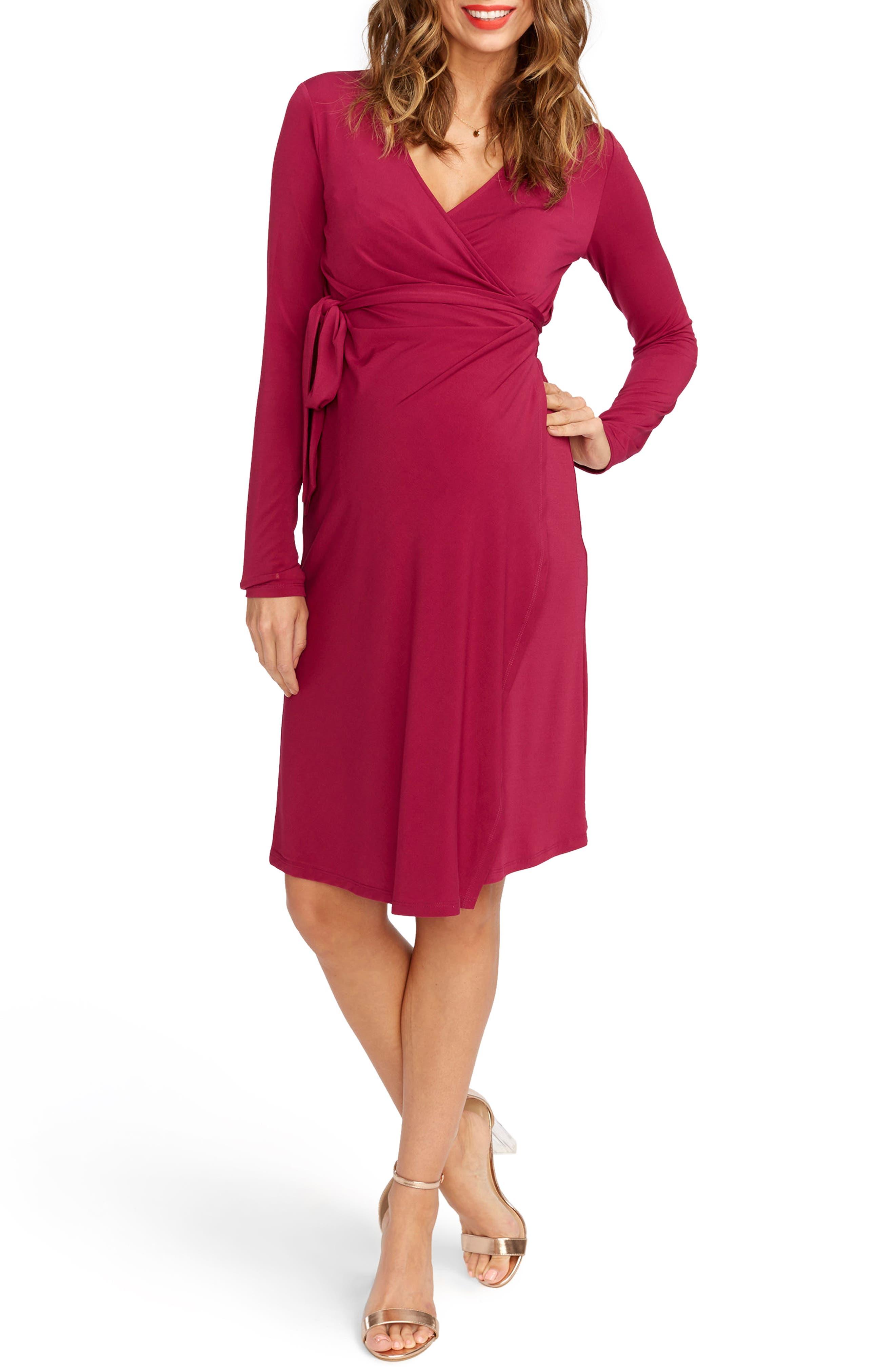 Wrap Maternity Dress,                         Main,                         color, Orchid