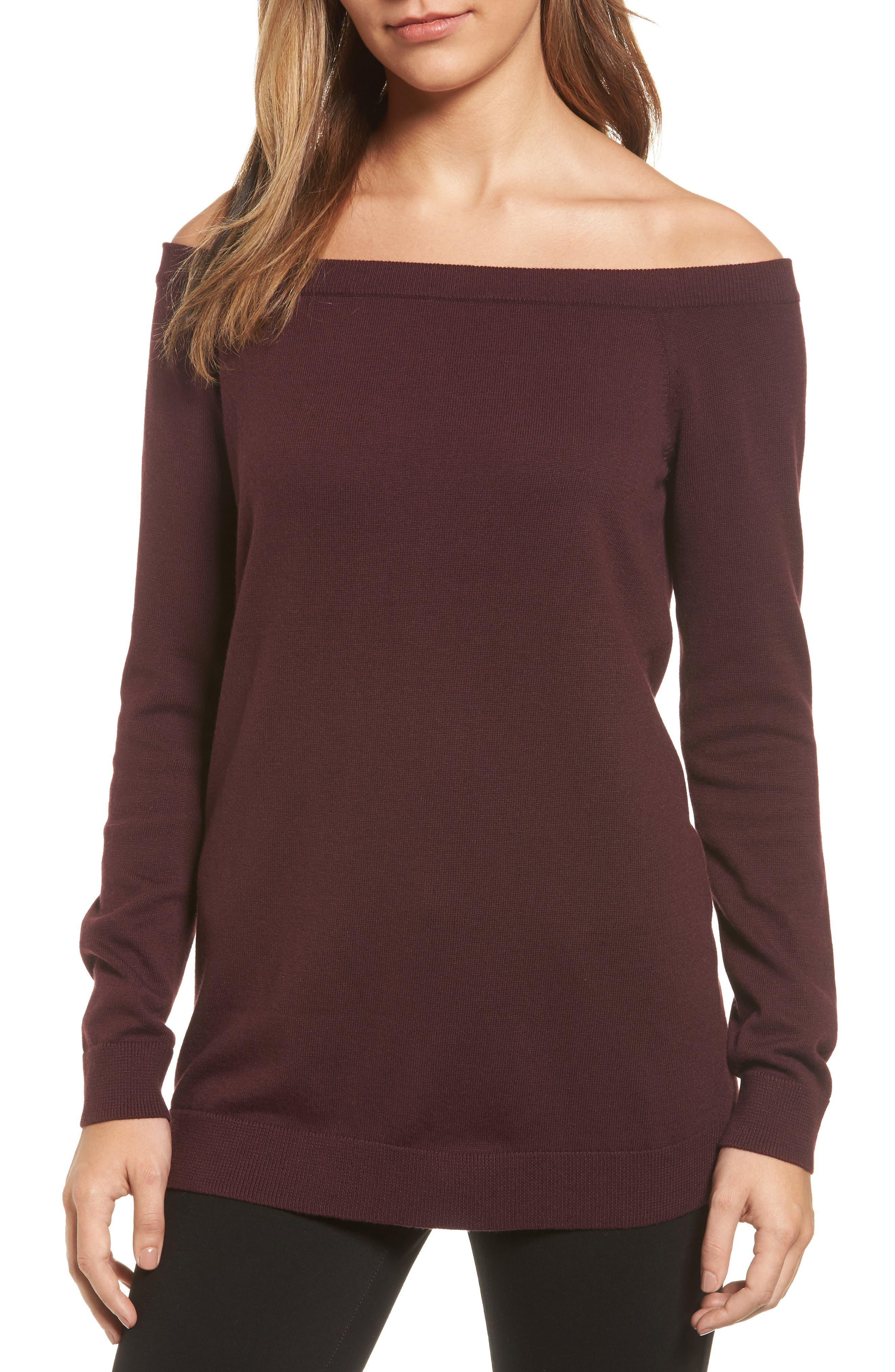 Main Image - Halogen® Cotton Blend Off the Shoulder Sweater (Regular & Petite)