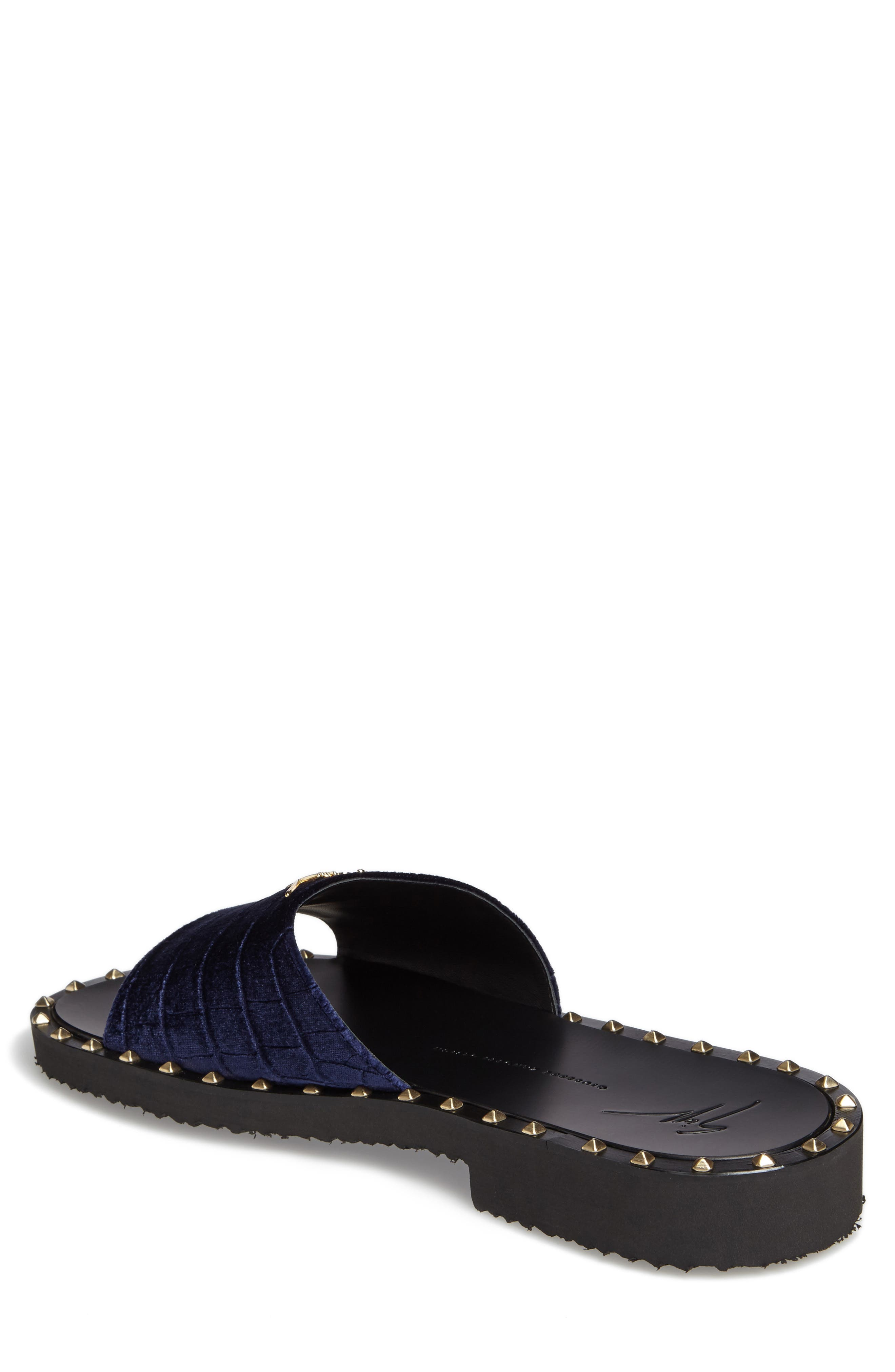 Studded Slide Sandal,                             Alternate thumbnail 2, color,                             Navy