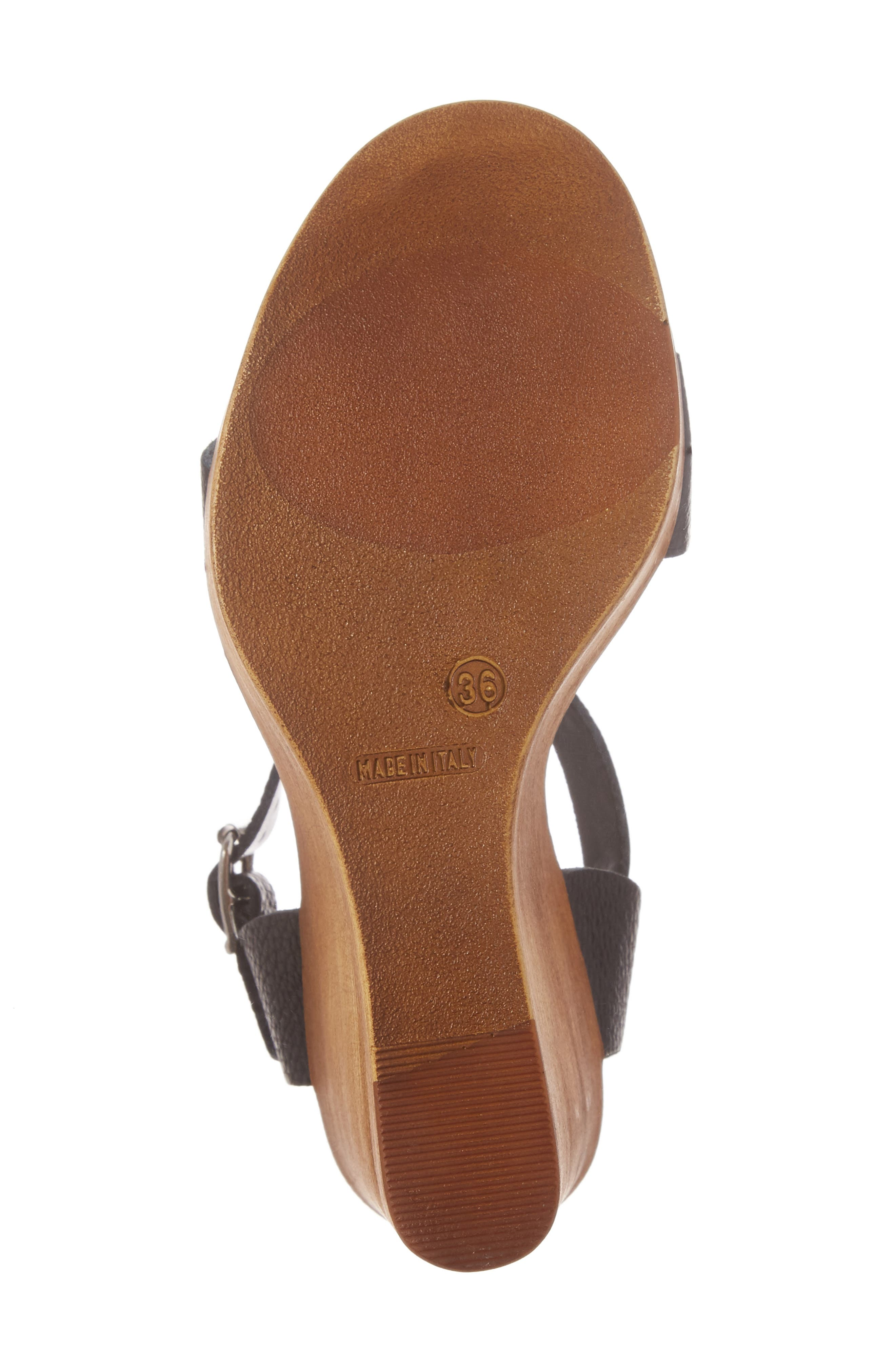 Belma Wedge Sandal,                             Alternate thumbnail 6, color,                             Black Leather