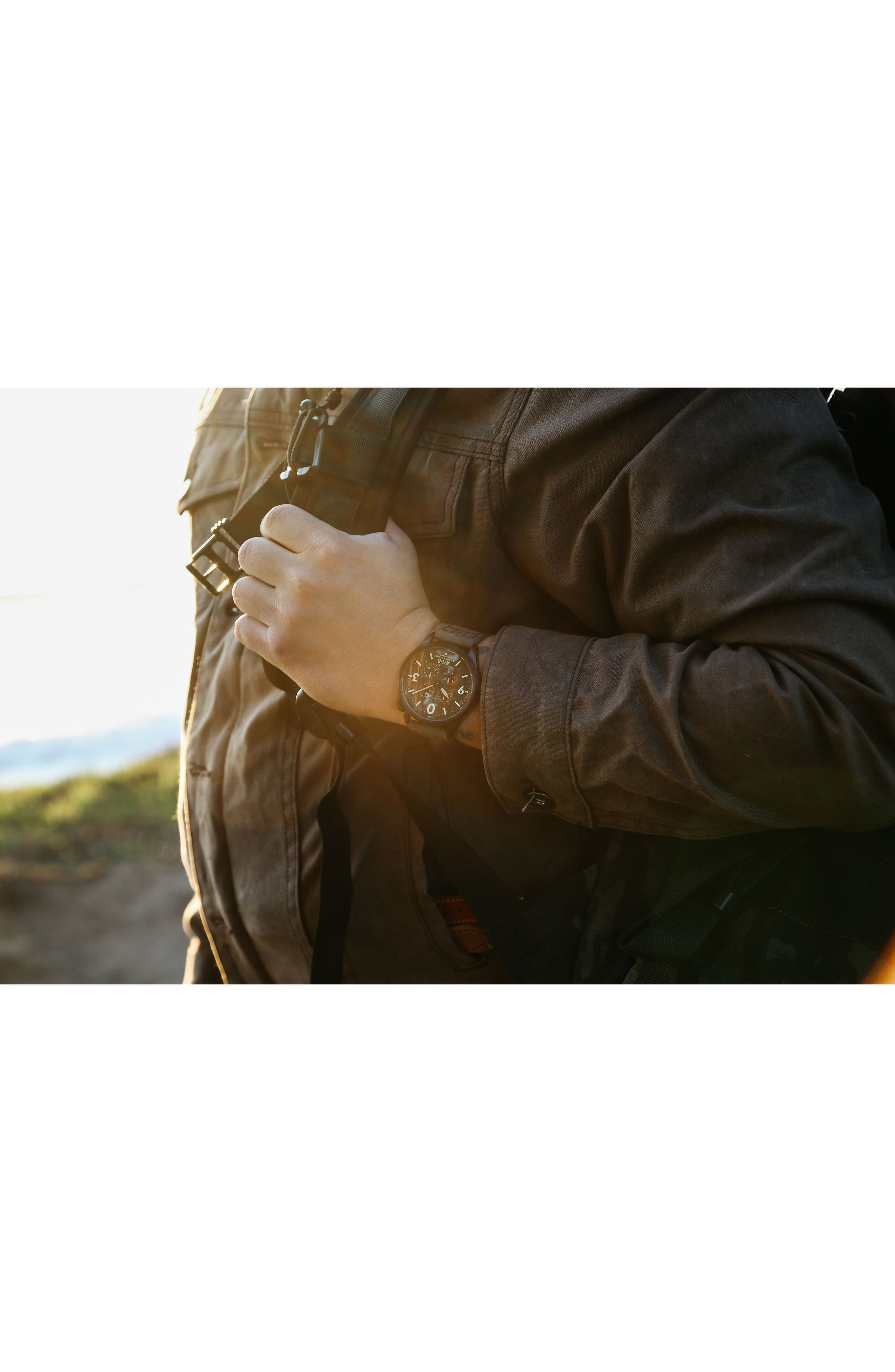 Lancaster Bomber Multifunction Leather Strap Watch, 44mm,                             Alternate thumbnail 6, color,                             Forrest Green/ Army Green
