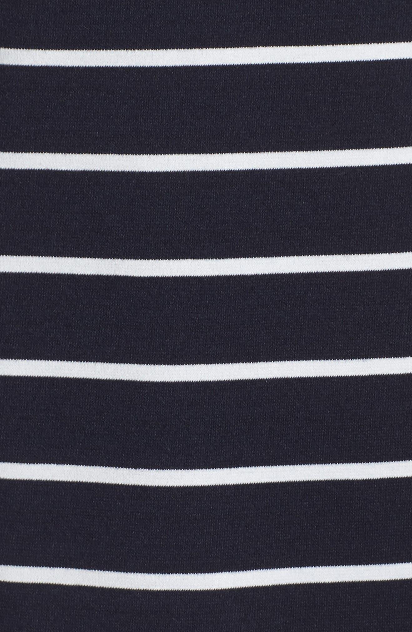 Mandarin Collar Shift Dress,                             Alternate thumbnail 5, color,                             Navy/ Ivory