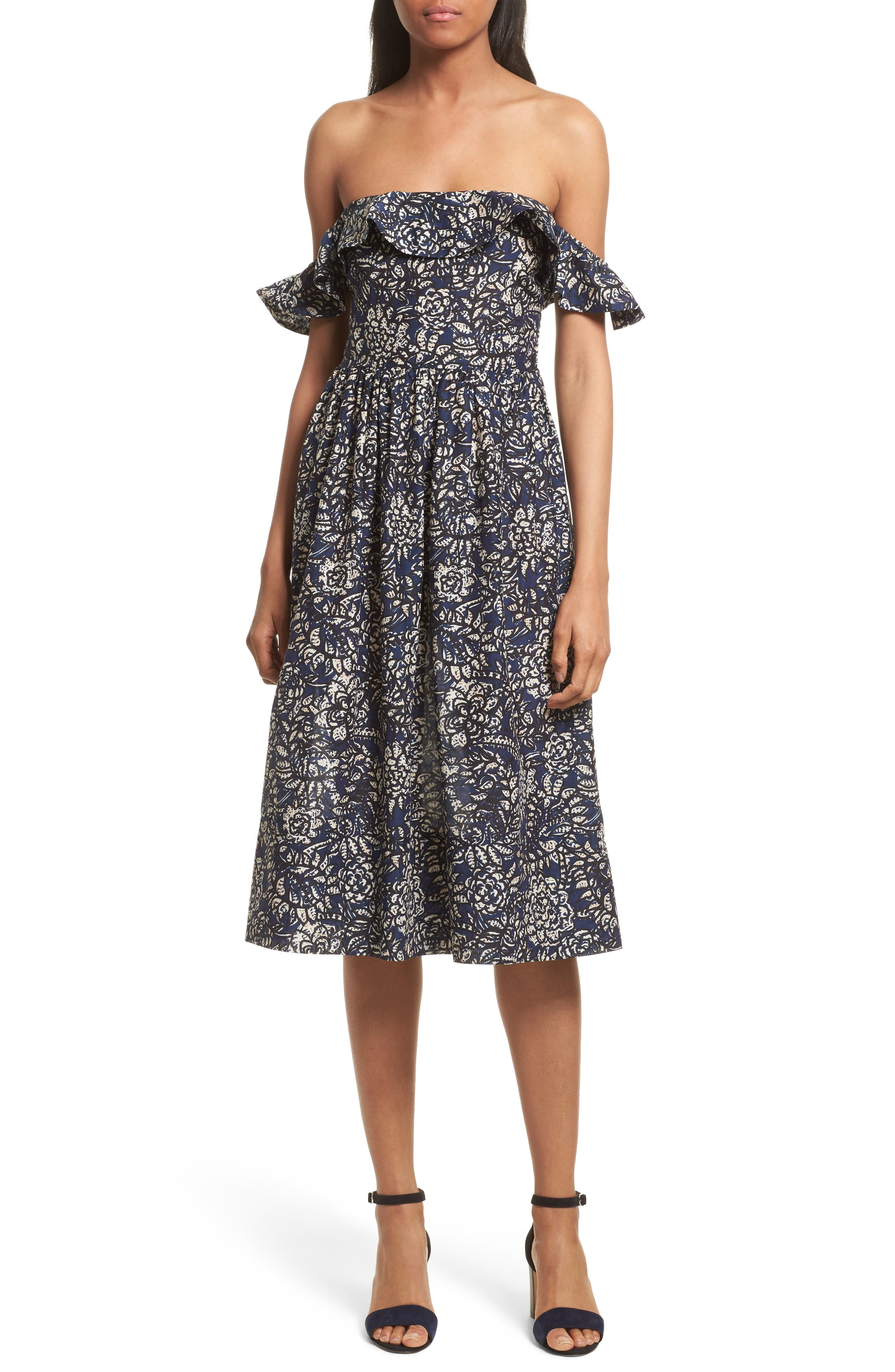 Novella Maria Off the Shoulder Dress,                         Main,                         color, Indigo Batik Floral