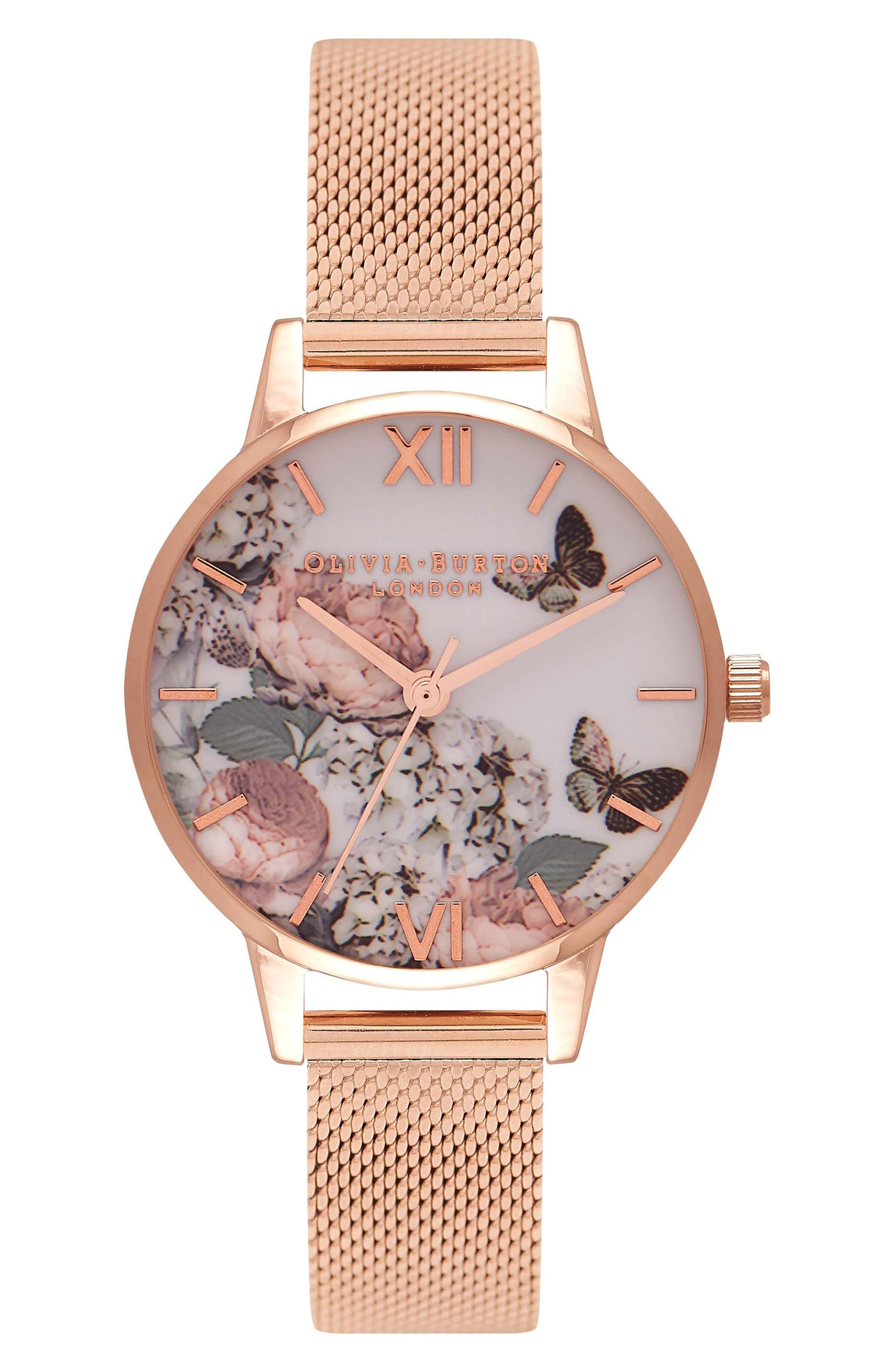 Garden Mesh Strap Watch, 38mm,                             Main thumbnail 1, color,                             Rose Gold/ Floral/ Rose Gold