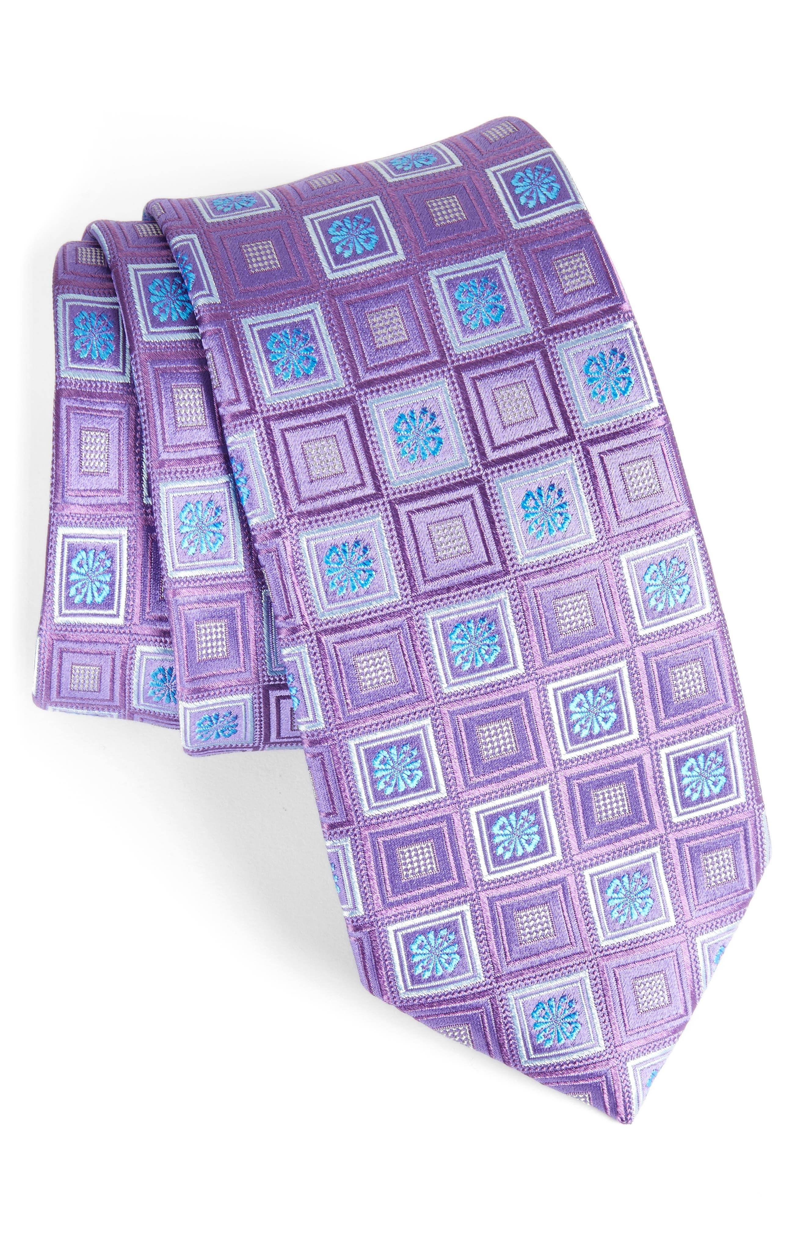 John W. Nordstrom Medallion Silk Tie,                             Main thumbnail 1, color,                             Purple