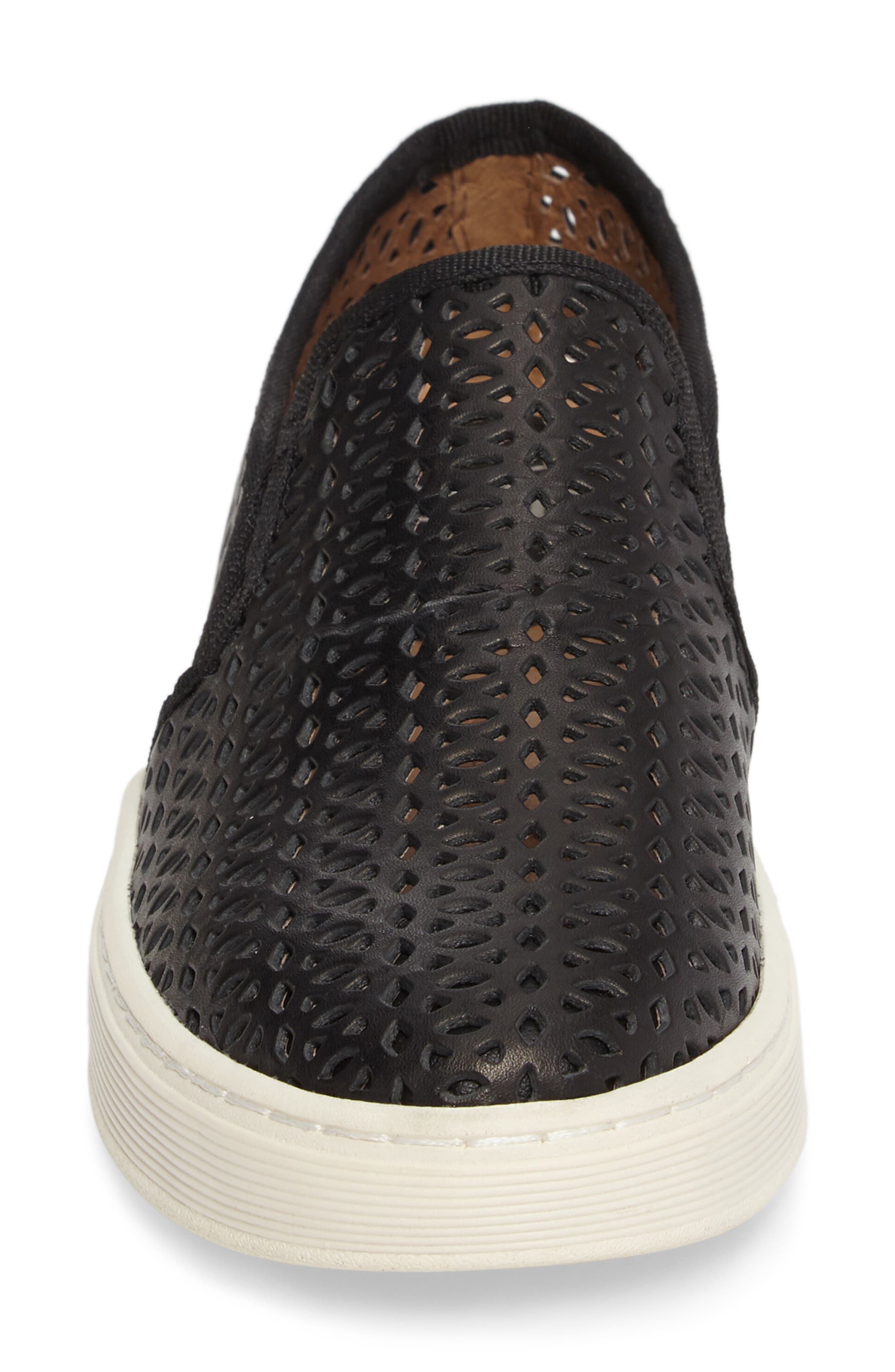 Somers II Slip-on Sneaker,                             Alternate thumbnail 4, color,                             Black Perforated Leather