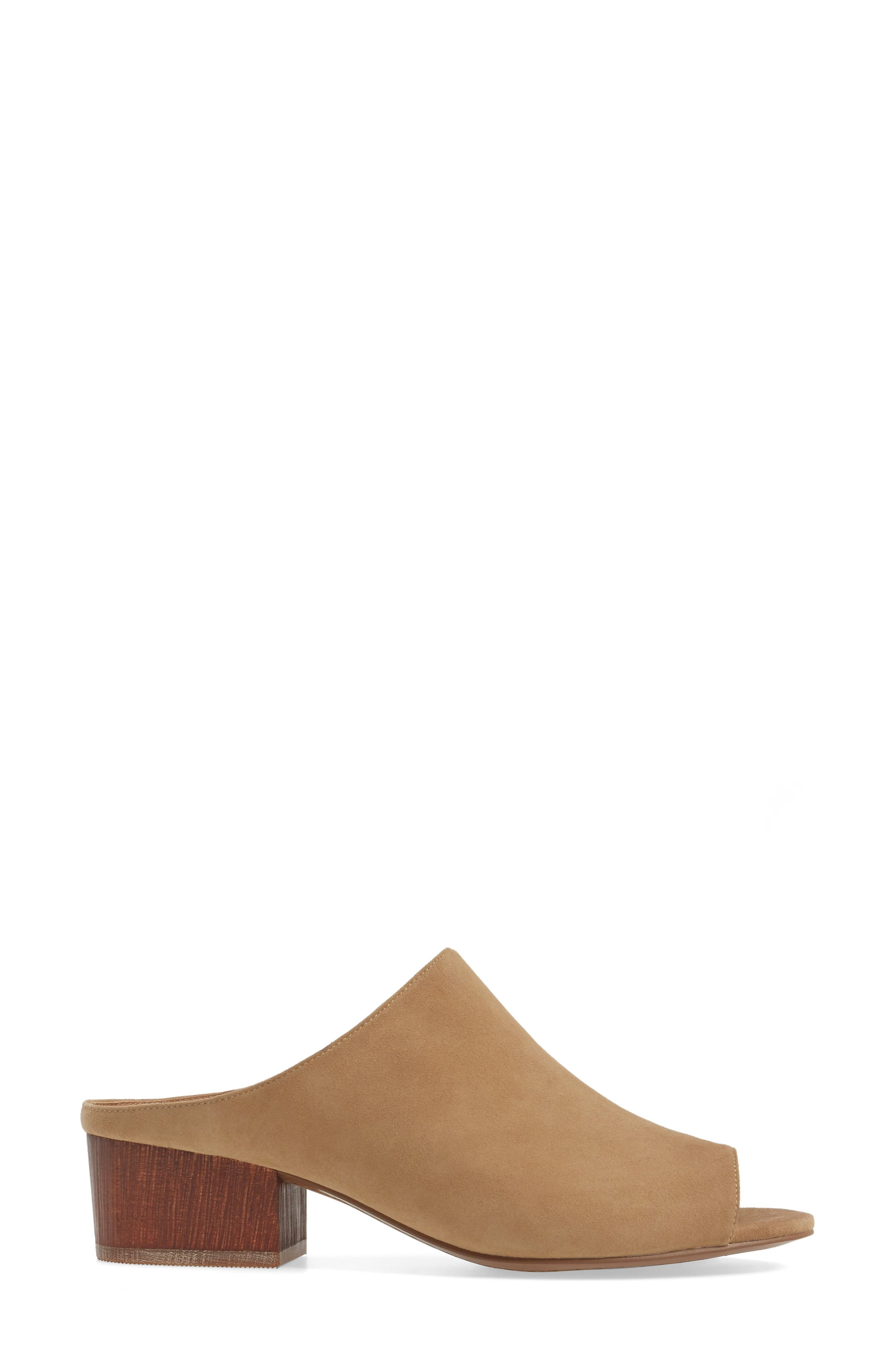 Cinch Block Heel Mule,                             Alternate thumbnail 3, color,                             Tan Suede