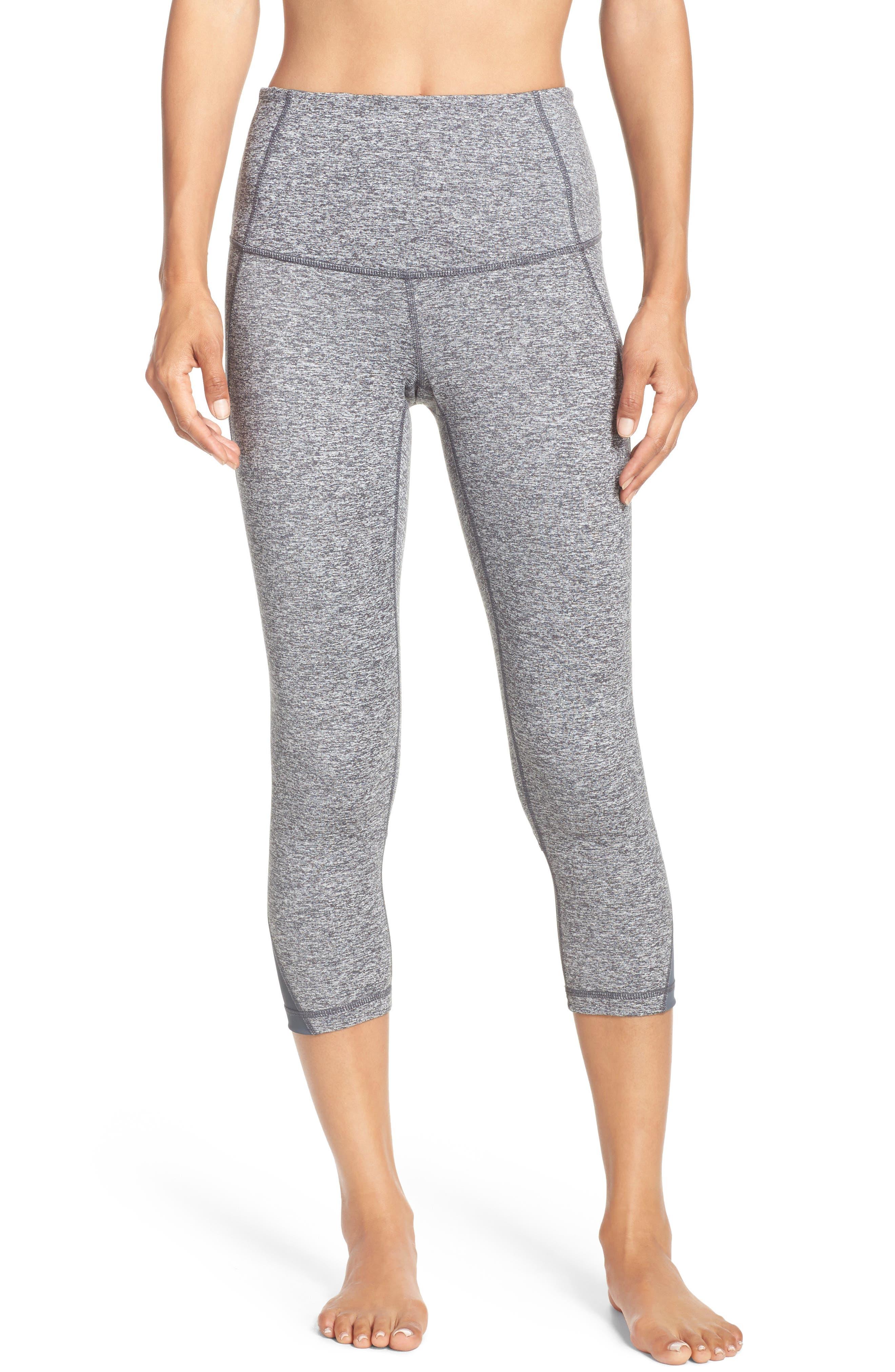 'Hatha' High Waist Crop Leggings,                         Main,                         color, Grey Graphite Melange