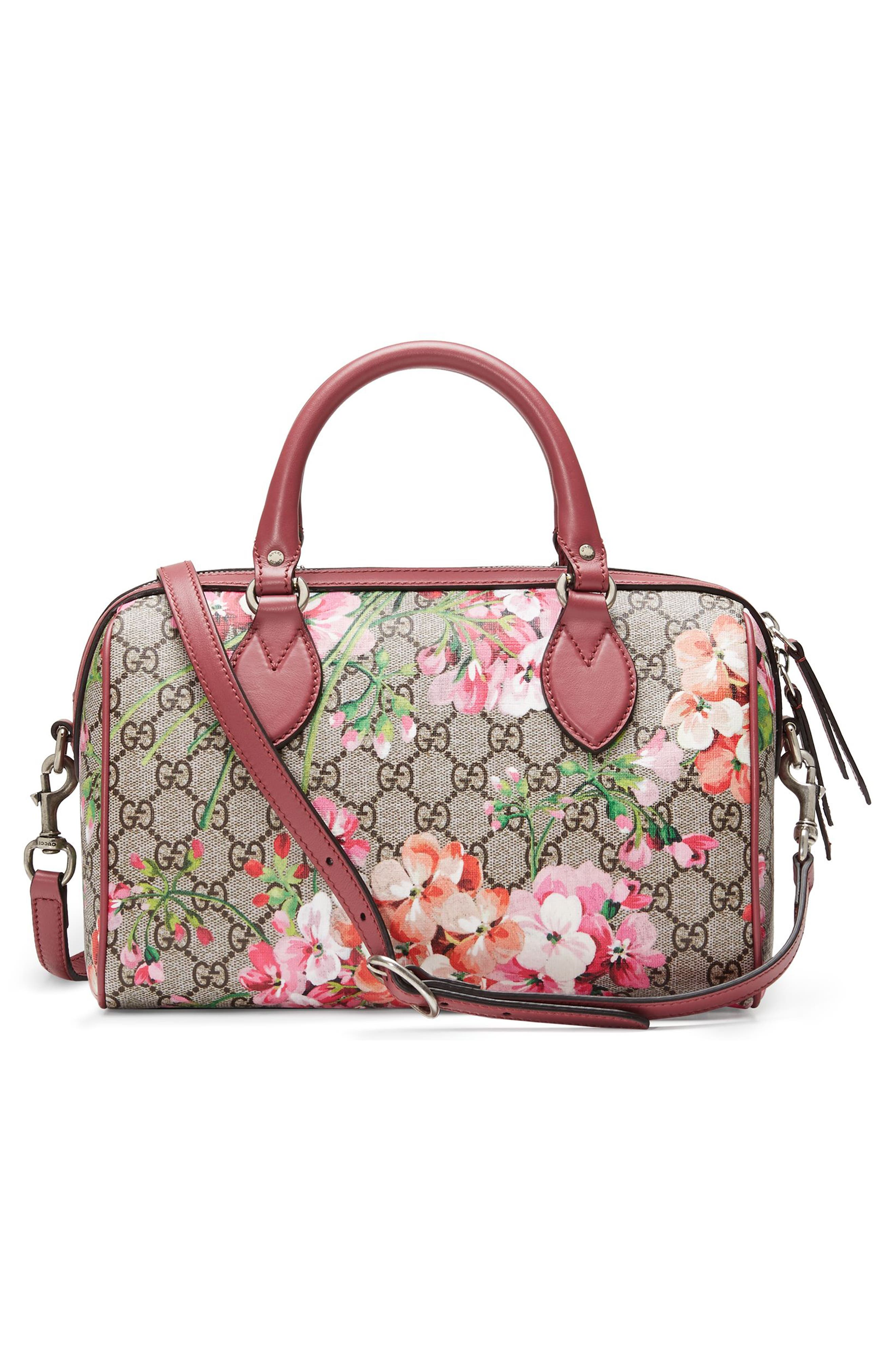Alternate Image 2  - Gucci Small Blooms Top Handle GG Supreme Canvas Bag