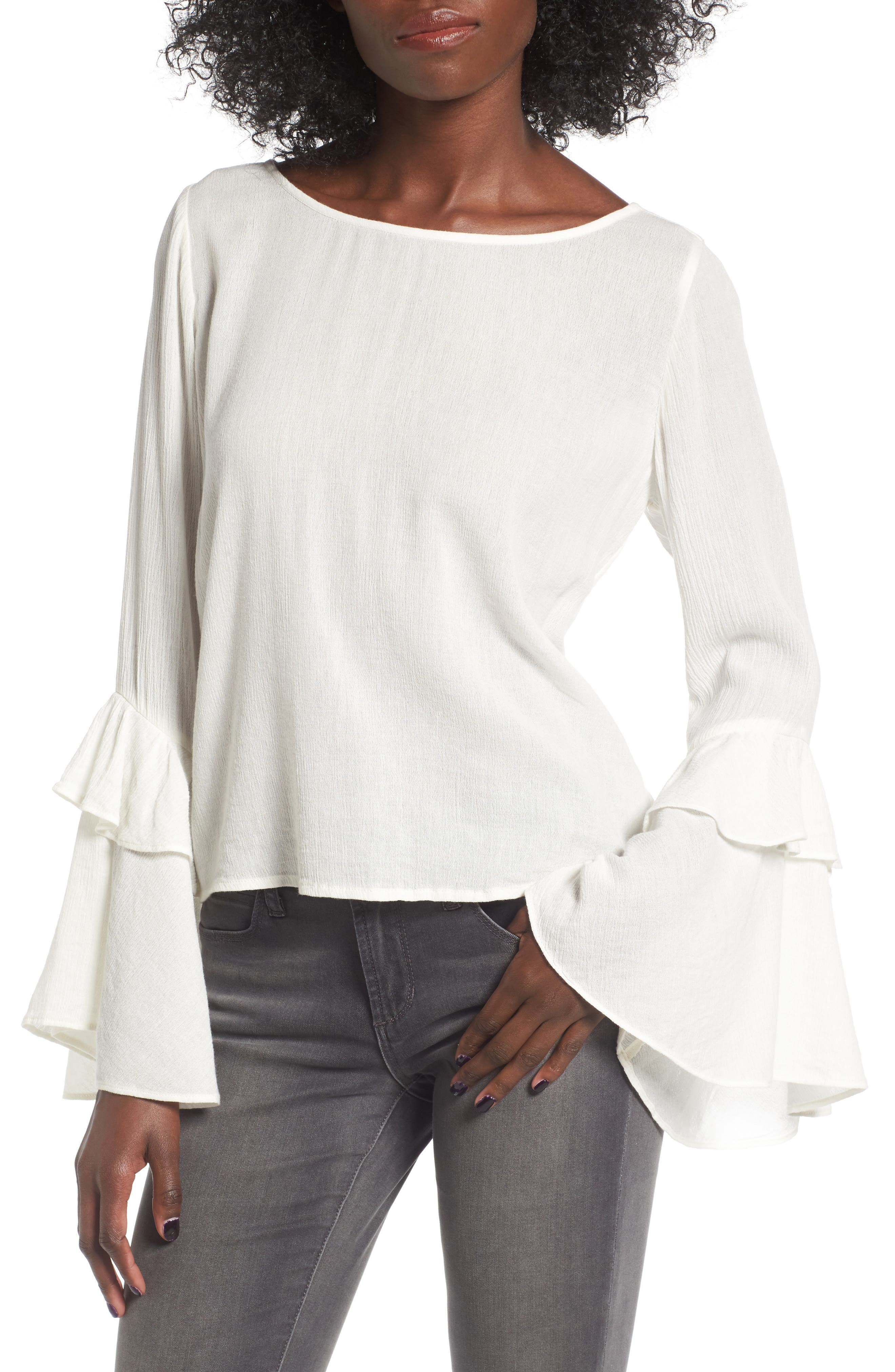 Sun & Shadow Ruffle Bell Sleeve Blouse