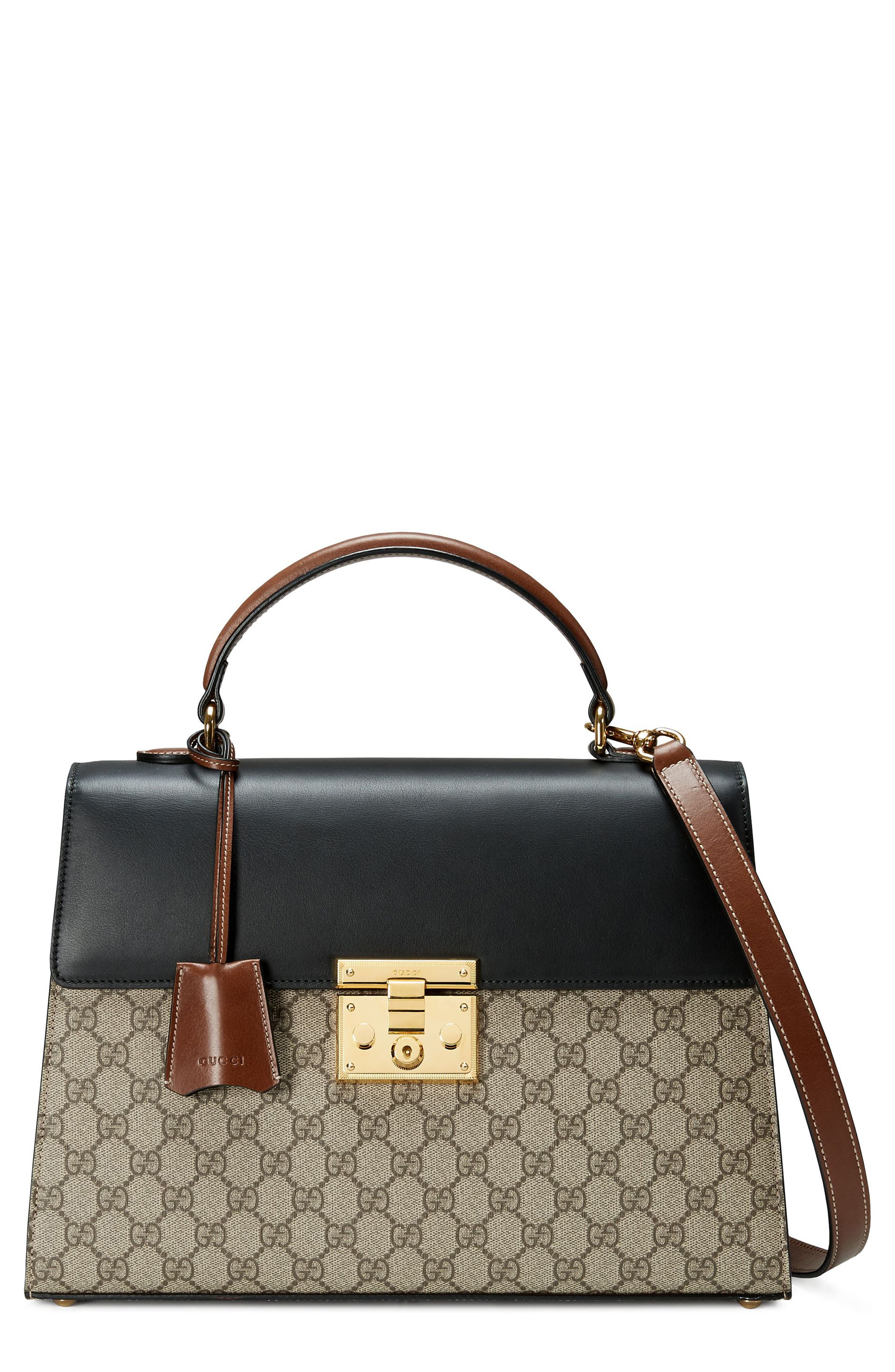 Medium Padlock Top Handle GG Supreme Canvas & Leather Bag,                             Main thumbnail 1, color,                             Beige Ebony/Nero/Cuir