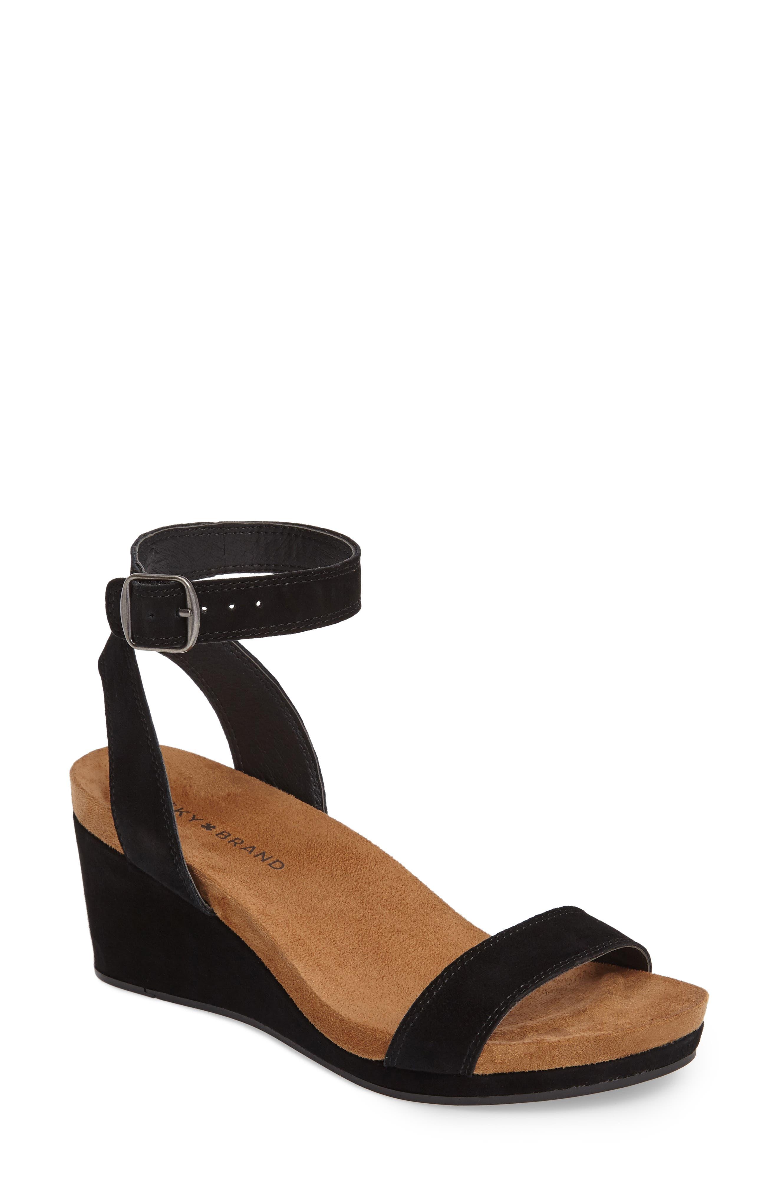 Alternate Image 1 Selected - Lucky Brand Karston Wedge Sandal (Women)