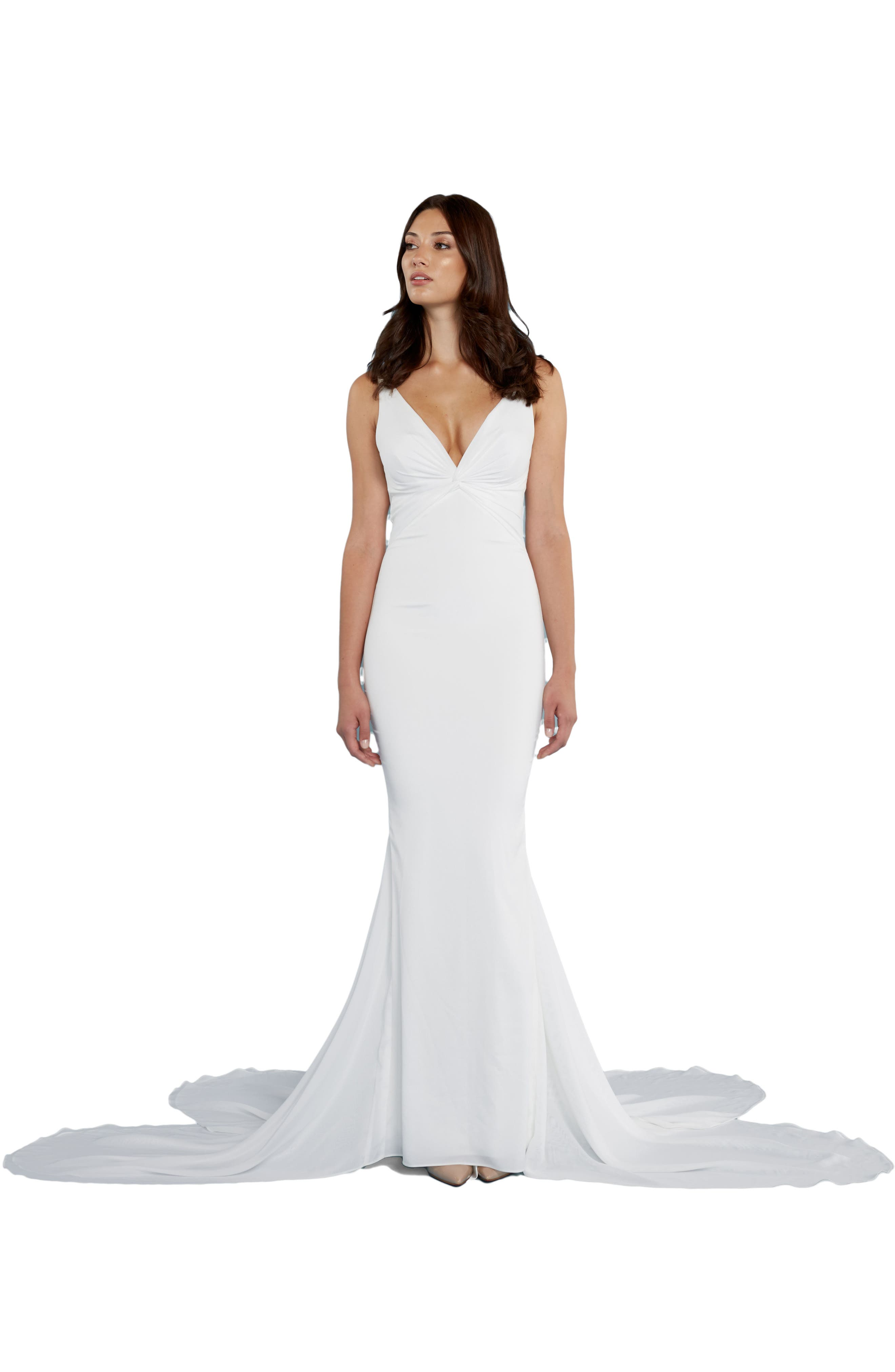 Katie May 'Mykonos' Twist Front Crêpe de Chine Mermaid Gown