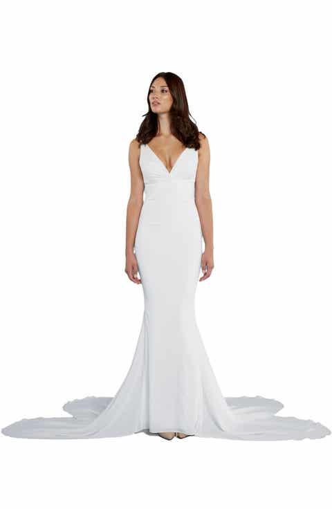 Katie May  Mykonos  Twist Front Cr pe de Chine Mermaid GownWedding Dresses   Nordstrom   Nordstrom. Off The Rack Wedding Dresses Nyc. Home Design Ideas