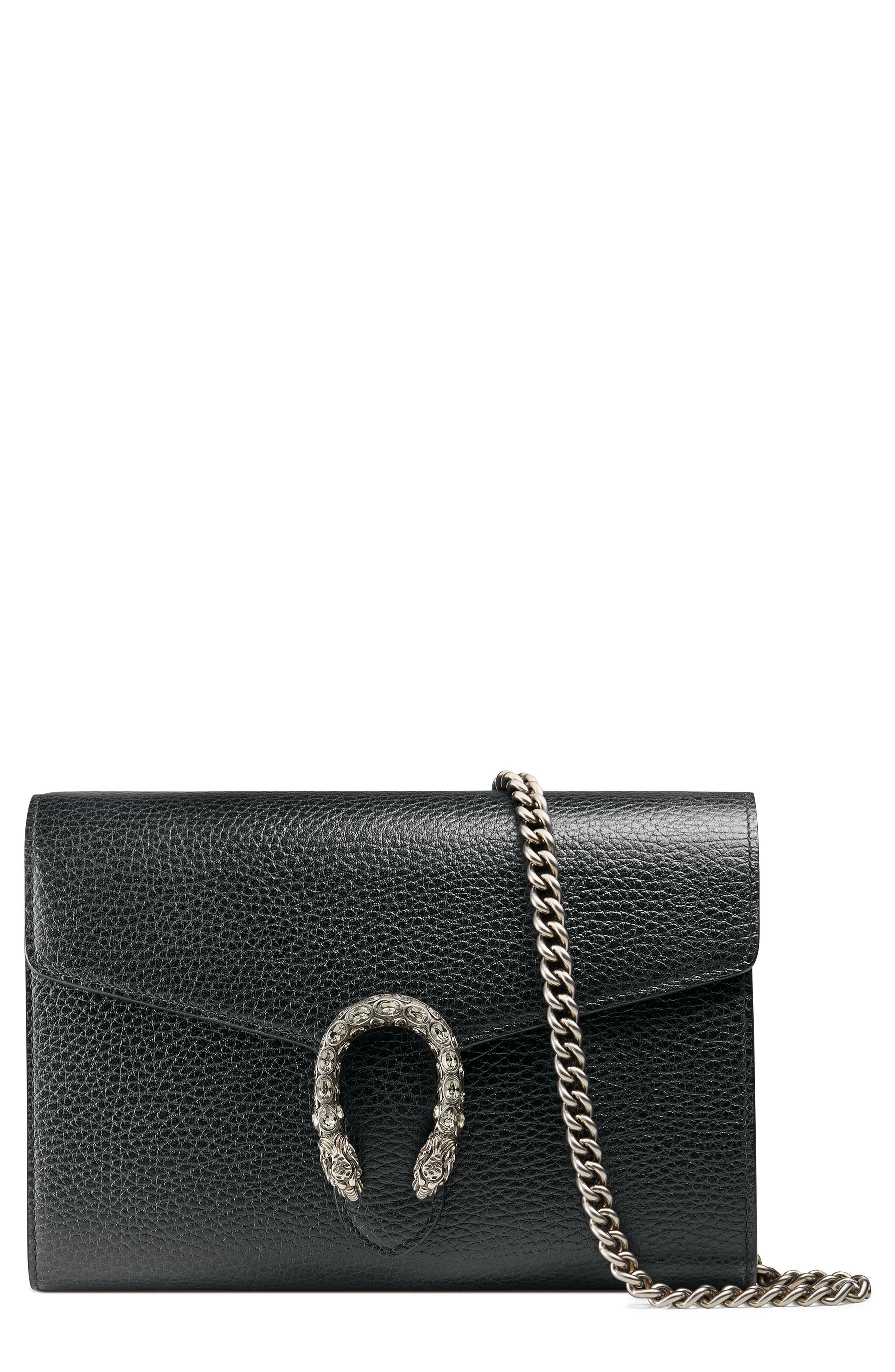 Dionysus Leather Wallet on a Chain,                         Main,                         color, Black /Blk Diamond