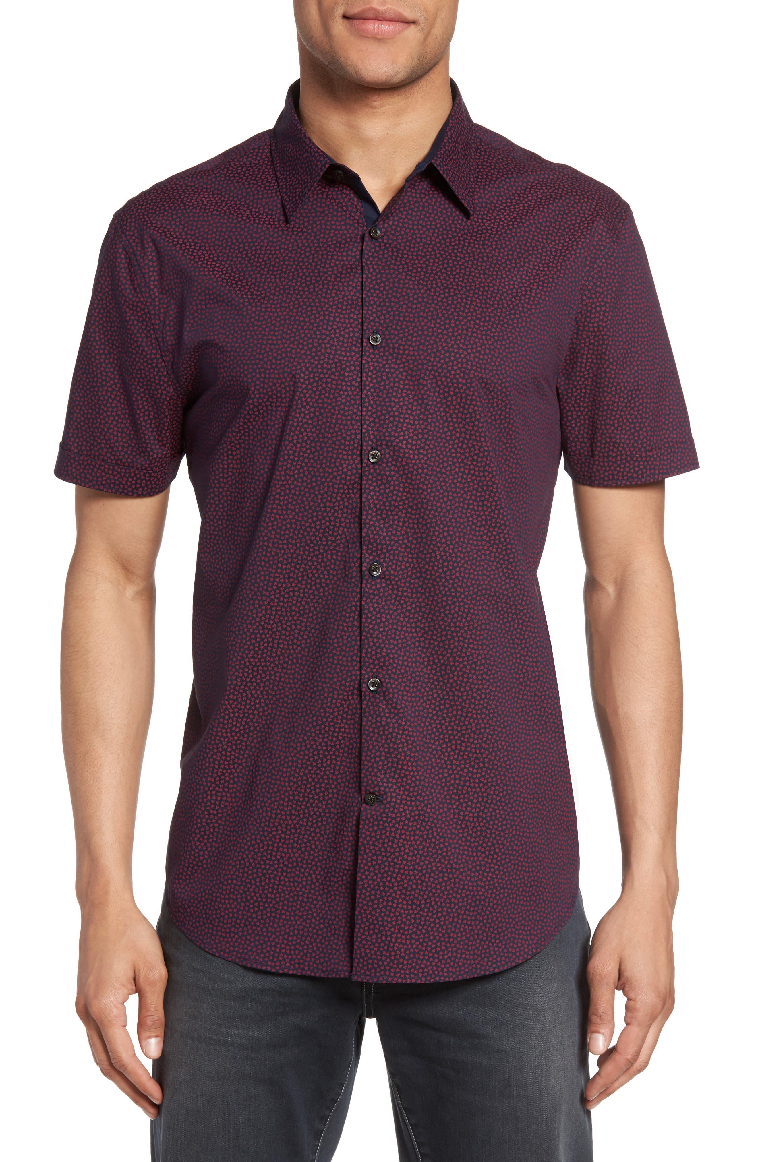 Trim Fit Print Sport Shirt,                         Main,                         color, Cherry
