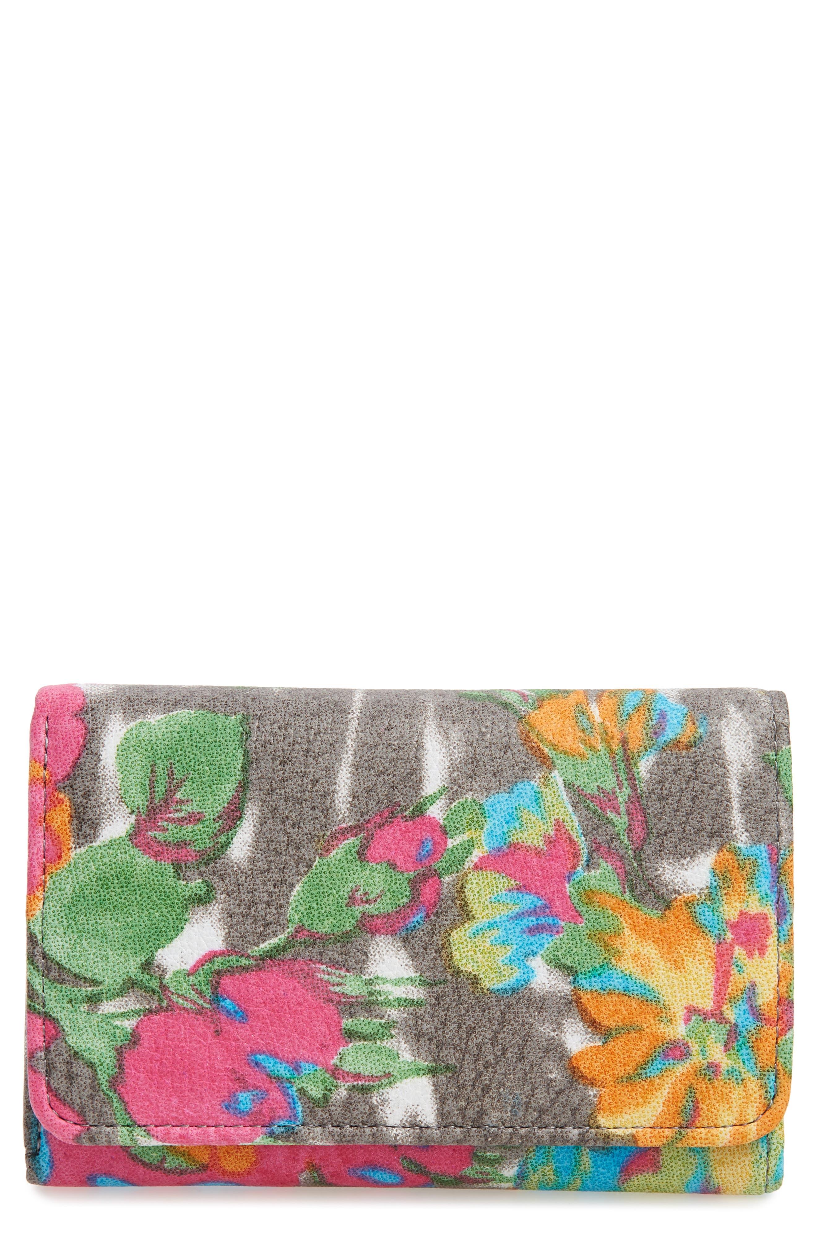 'Jill' Trifold Wallet,                         Main,                         color, Lush Tropics